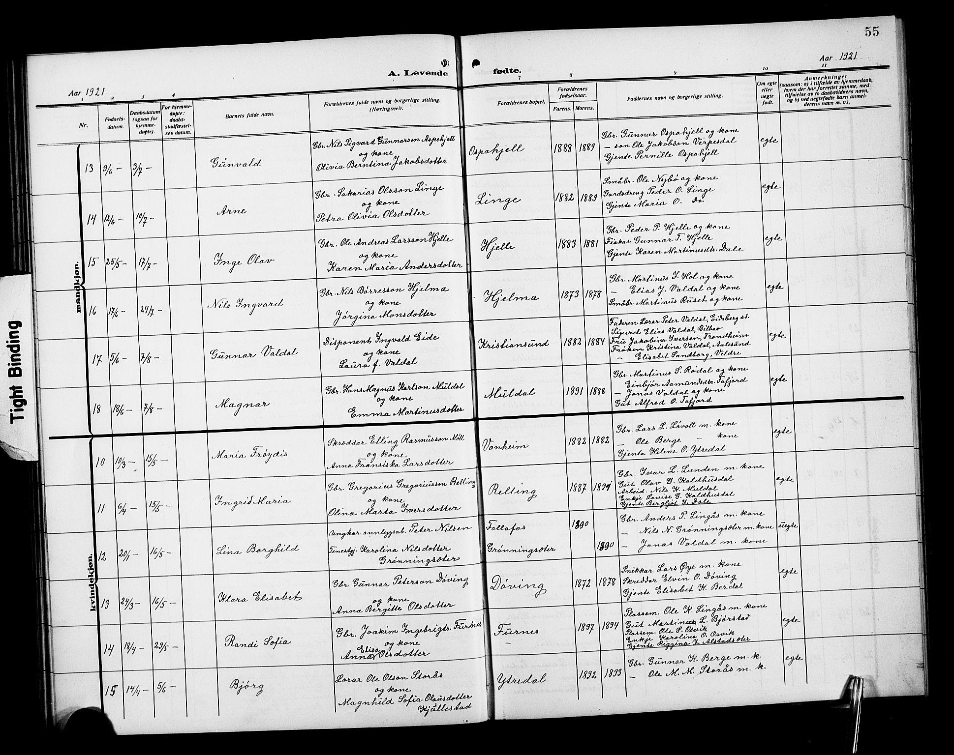 SAT, Ministerialprotokoller, klokkerbøker og fødselsregistre - Møre og Romsdal, 519/L0265: Klokkerbok nr. 519C06, 1911-1921, s. 55