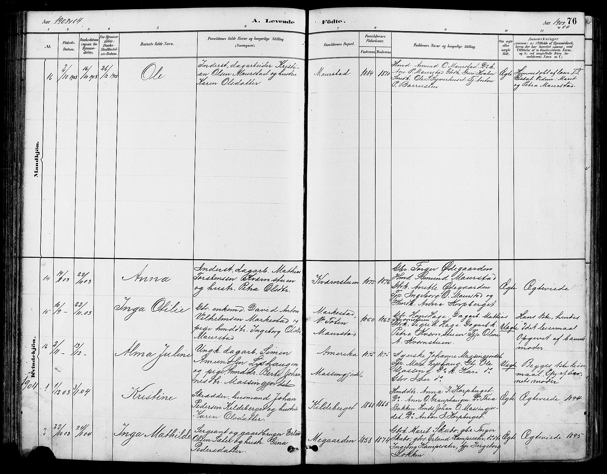 SAH, Nord-Fron prestekontor, Klokkerbok nr. 5, 1884-1914, s. 76