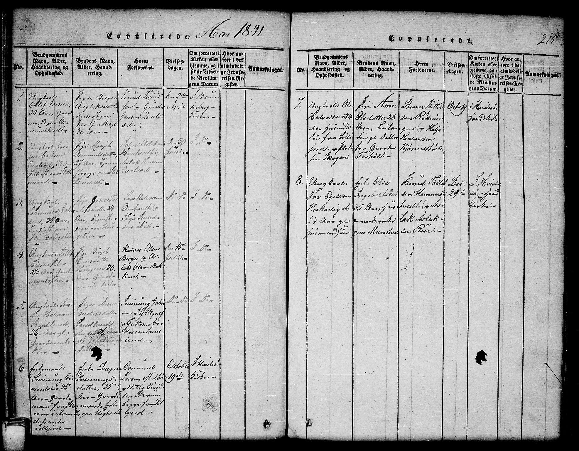 SAKO, Kviteseid kirkebøker, G/Gb/L0001: Klokkerbok nr. II 1, 1815-1842, s. 215