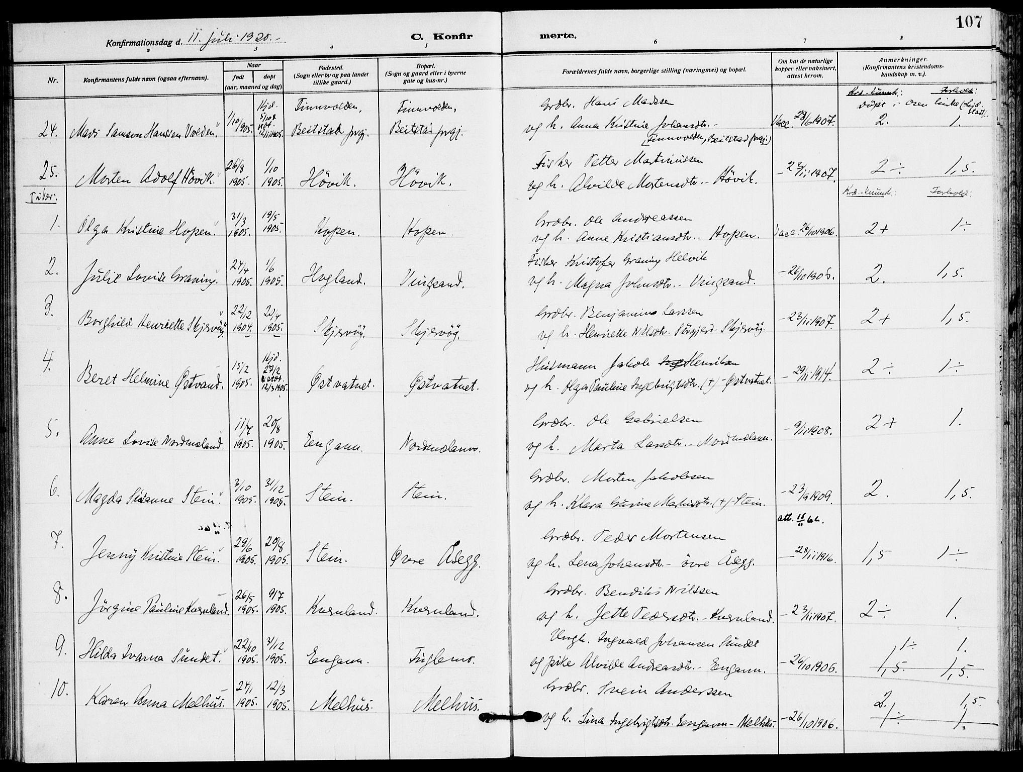 SAT, Ministerialprotokoller, klokkerbøker og fødselsregistre - Sør-Trøndelag, 658/L0724: Ministerialbok nr. 658A03, 1912-1924, s. 107