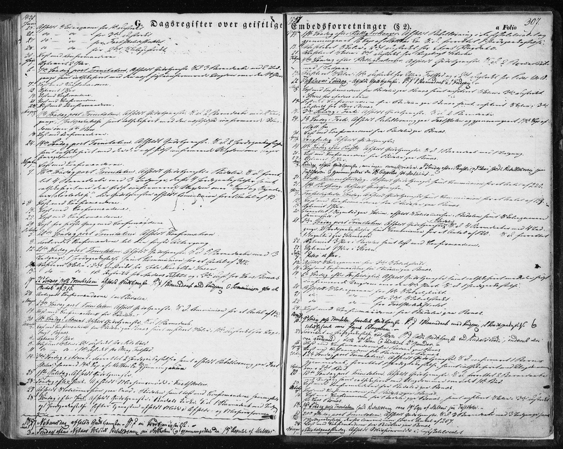 SAT, Ministerialprotokoller, klokkerbøker og fødselsregistre - Sør-Trøndelag, 687/L1000: Ministerialbok nr. 687A06, 1848-1869, s. 307