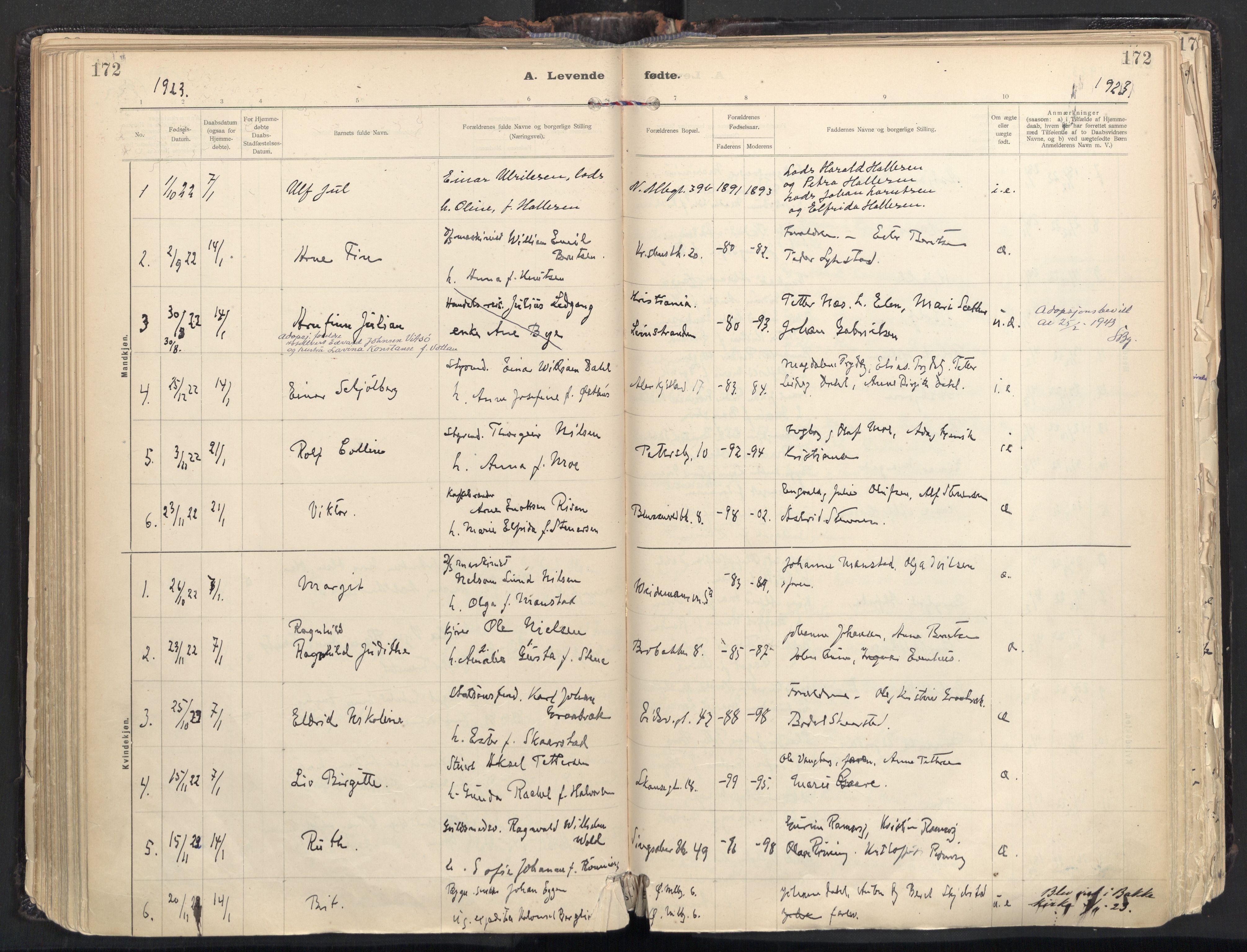 SAT, Ministerialprotokoller, klokkerbøker og fødselsregistre - Sør-Trøndelag, 604/L0205: Ministerialbok nr. 604A25, 1917-1932, s. 172