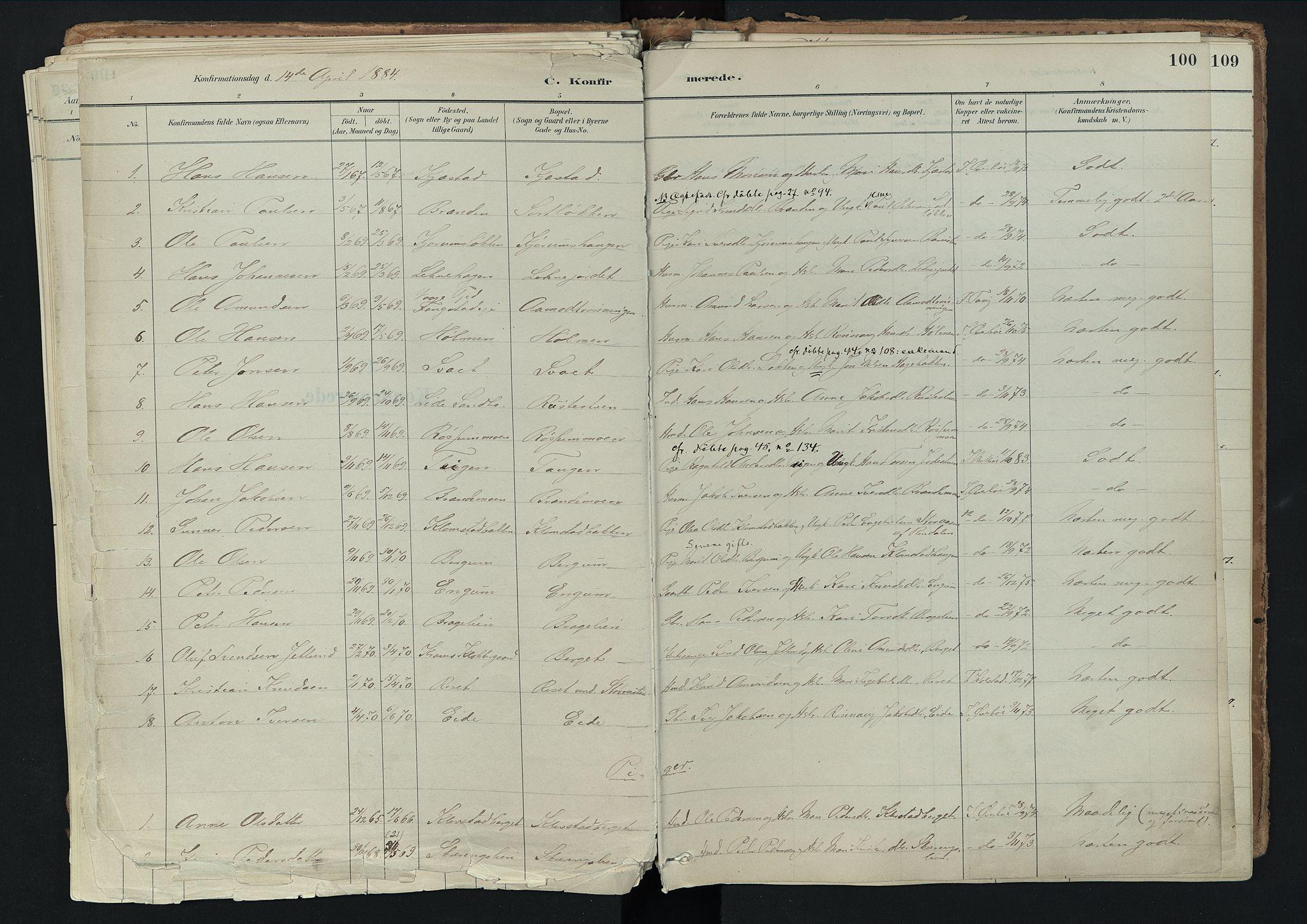 SAH, Nord-Fron prestekontor, Ministerialbok nr. 3, 1884-1914, s. 100