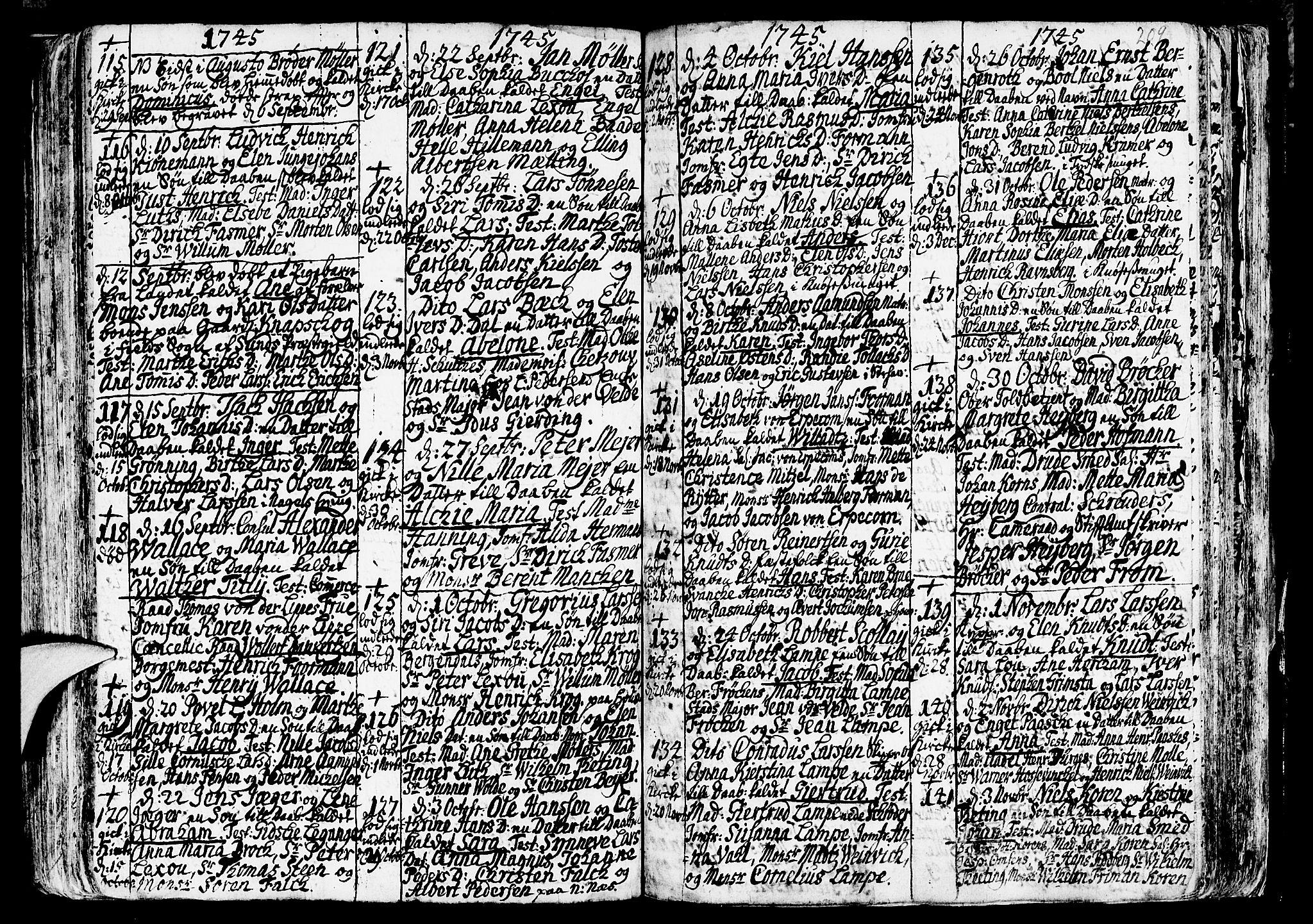 SAB, Nykirken Sokneprestembete, H/Haa: Ministerialbok nr. A 3, 1717-1764, s. 209