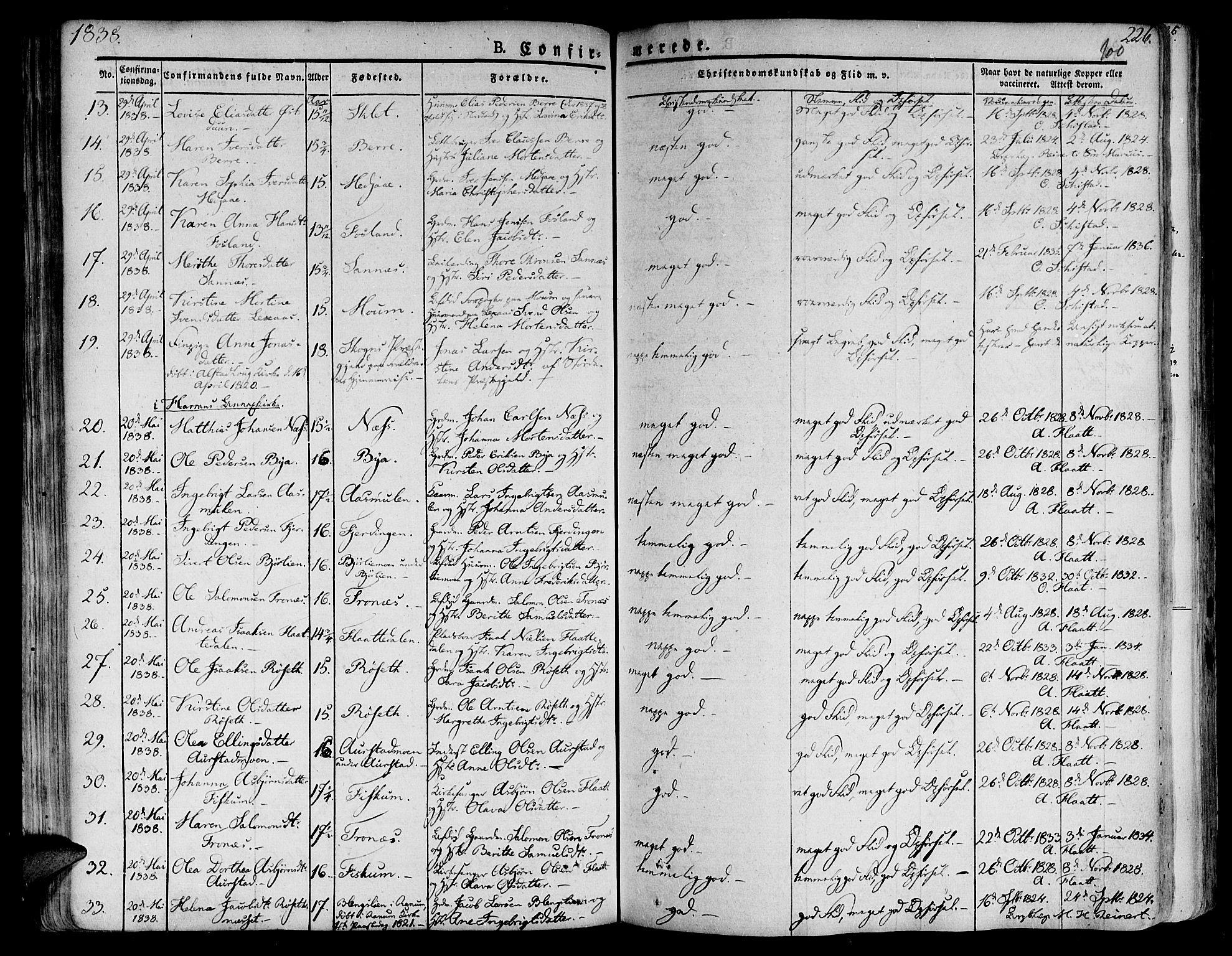 SAT, Ministerialprotokoller, klokkerbøker og fødselsregistre - Nord-Trøndelag, 758/L0510: Ministerialbok nr. 758A01 /1, 1821-1841, s. 100