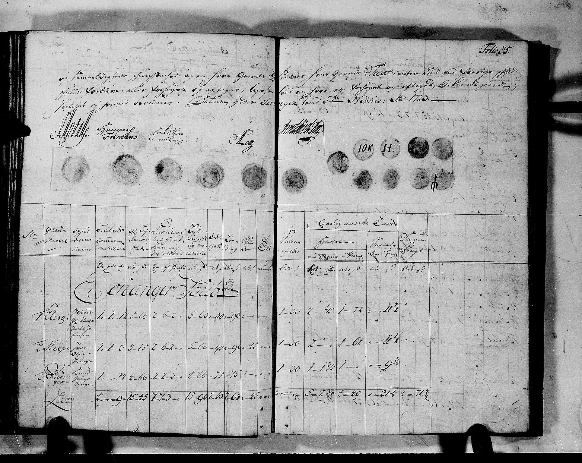 RA, Rentekammeret inntil 1814, Realistisk ordnet avdeling, N/Nb/Nbf/L0140: Nordhordland matrikkelprotokoll, 1723, s. 34b-35a