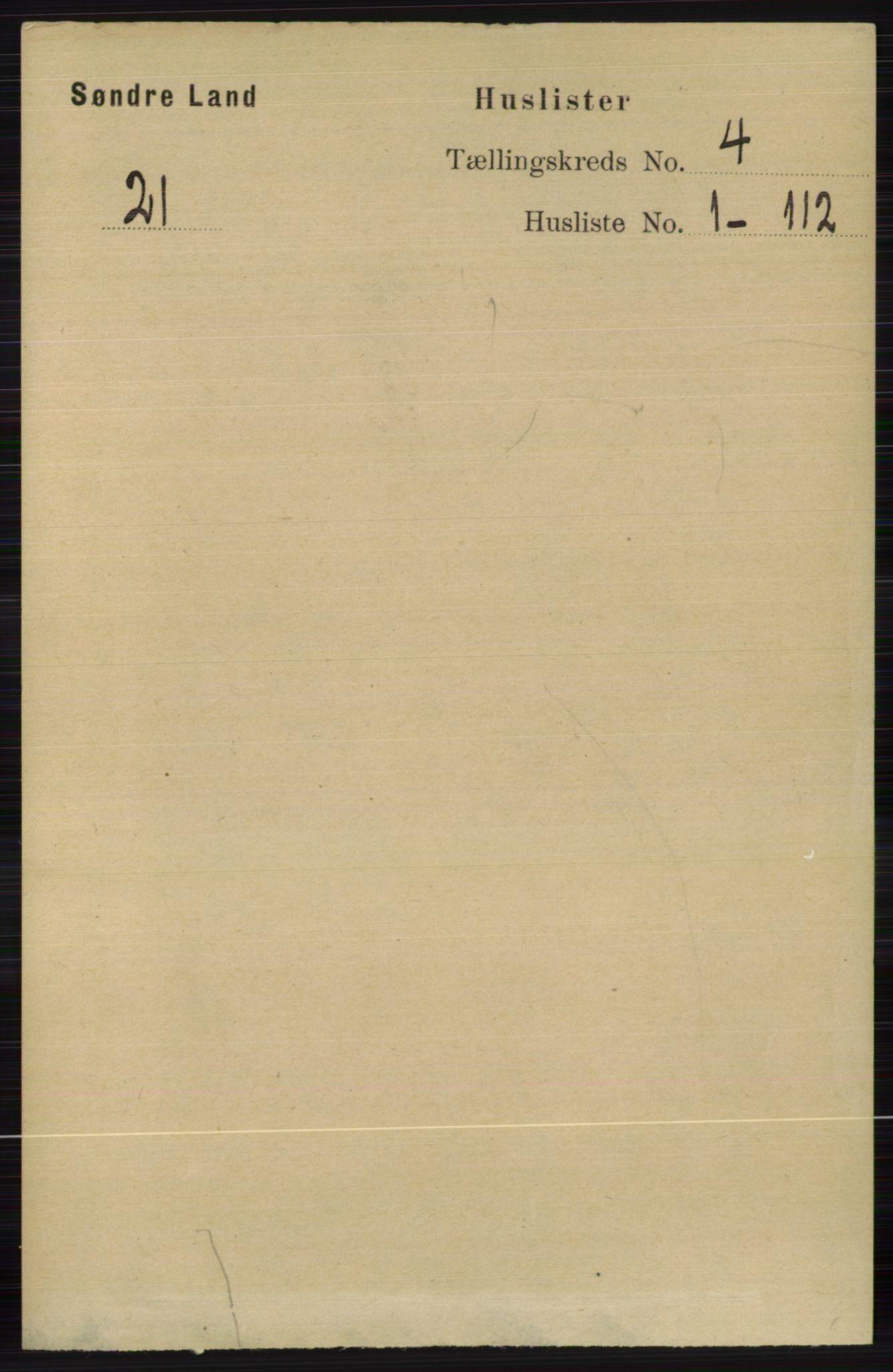 RA, Folketelling 1891 for 0536 Søndre Land herred, 1891, s. 3877
