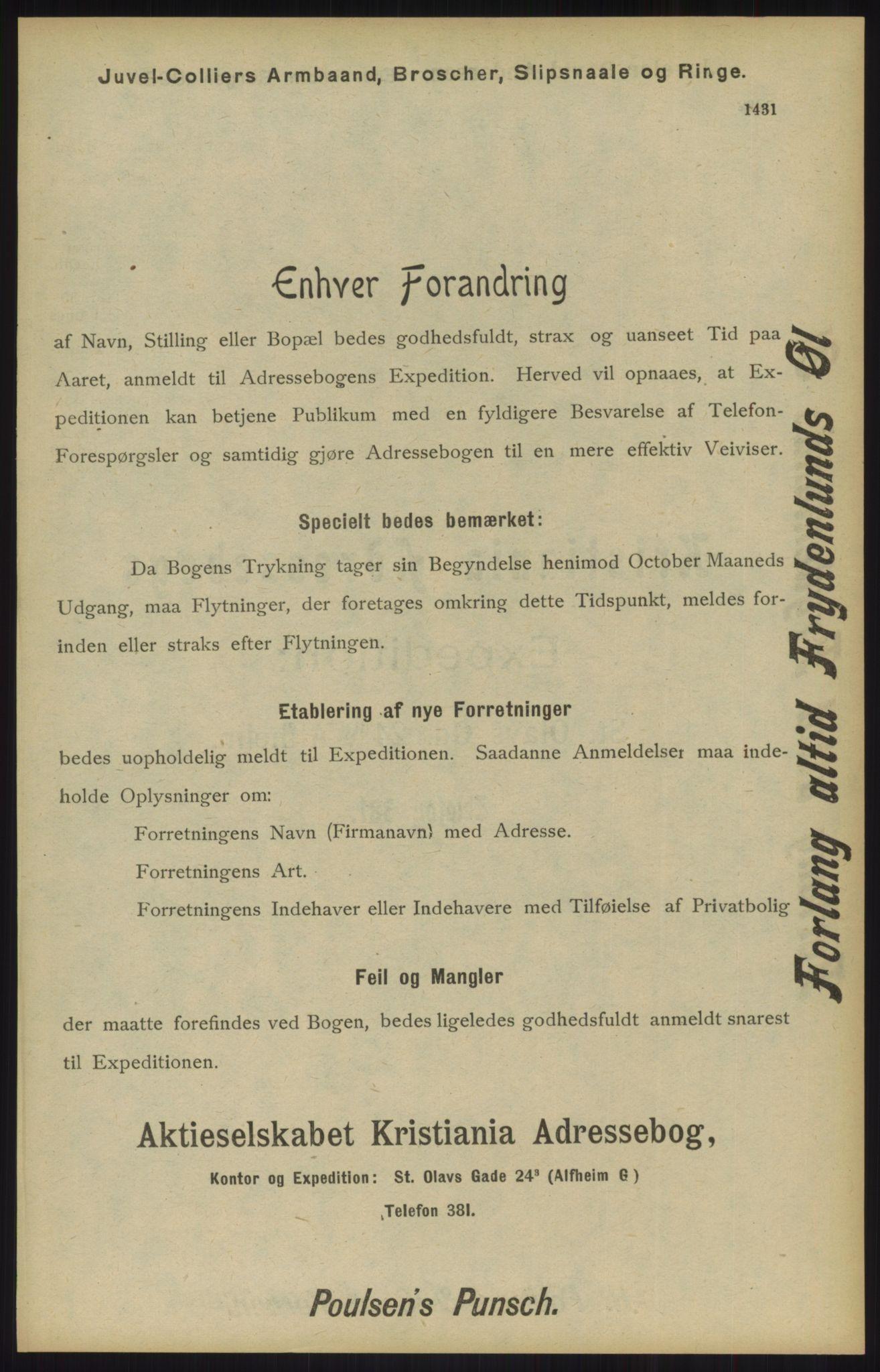 RA, Kristiania adressebok (publikasjon)*, 1904, s. 1431