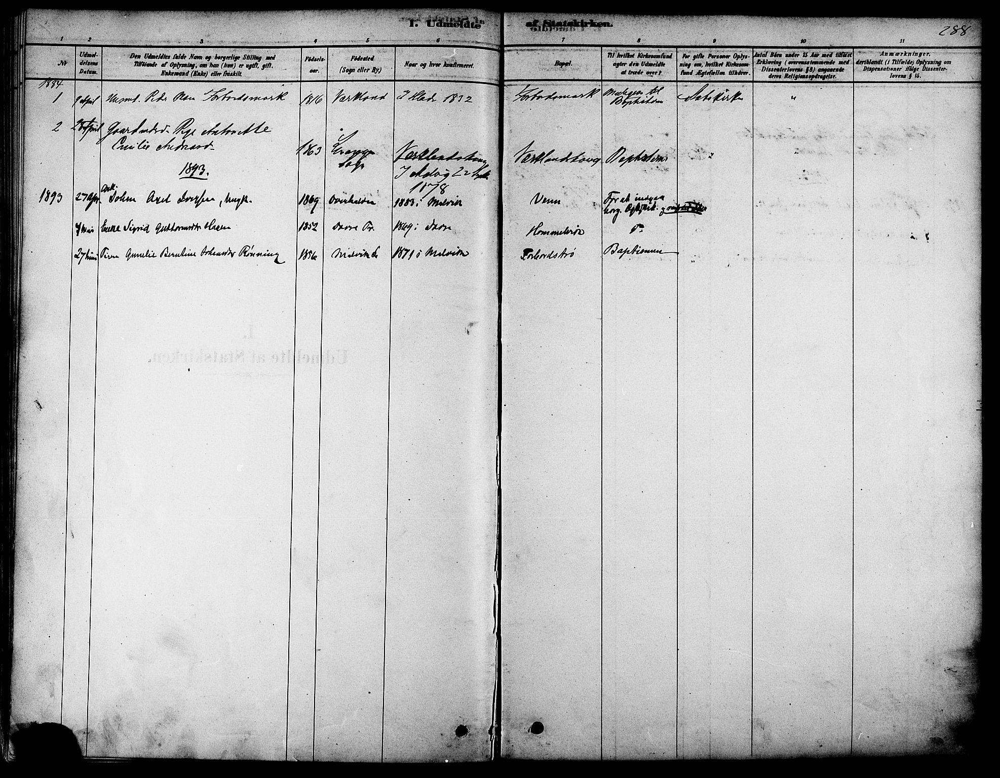 SAT, Ministerialprotokoller, klokkerbøker og fødselsregistre - Sør-Trøndelag, 616/L0410: Ministerialbok nr. 616A07, 1878-1893, s. 288