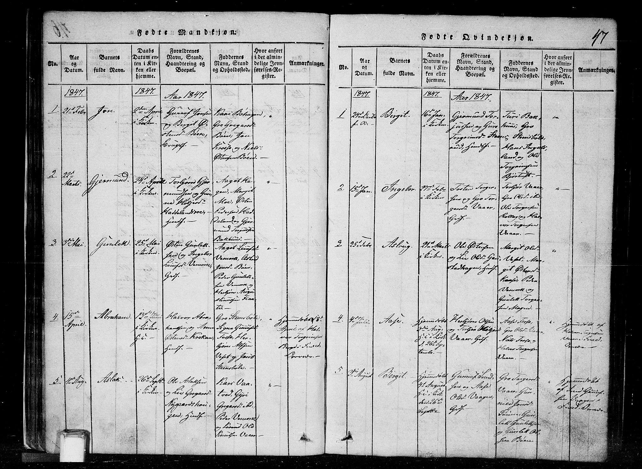SAKO, Tinn kirkebøker, G/Gc/L0001: Klokkerbok nr. III 1, 1815-1879, s. 47