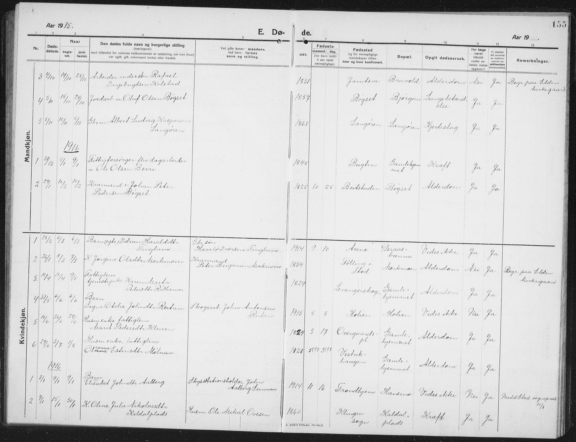 SAT, Ministerialprotokoller, klokkerbøker og fødselsregistre - Nord-Trøndelag, 742/L0413: Klokkerbok nr. 742C04, 1911-1938, s. 155