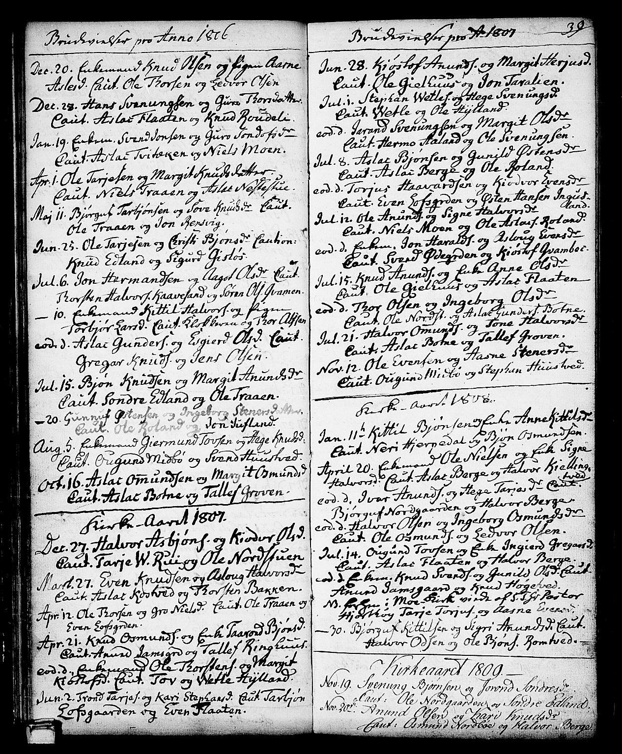SAKO, Vinje kirkebøker, F/Fa/L0002: Ministerialbok nr. I 2, 1767-1814, s. 39