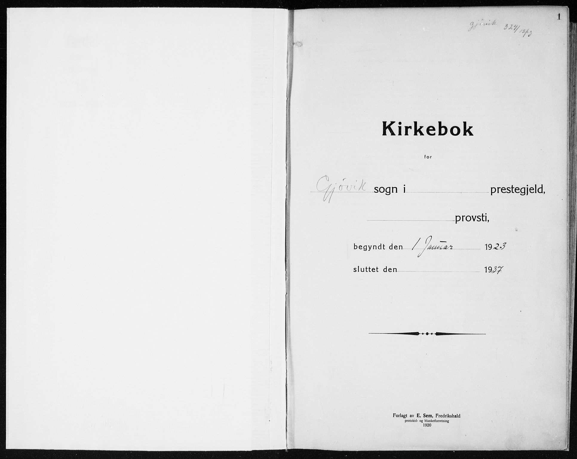 SAH, Vardal prestekontor, H/Ha/Haa/L0015: Ministerialbok nr. 15, 1923-1937, s. 1