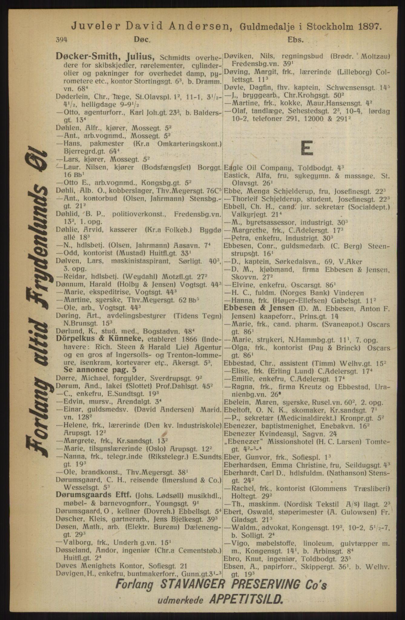 RA, Kristiania adressebok (publikasjon)*, 1914, s. 394