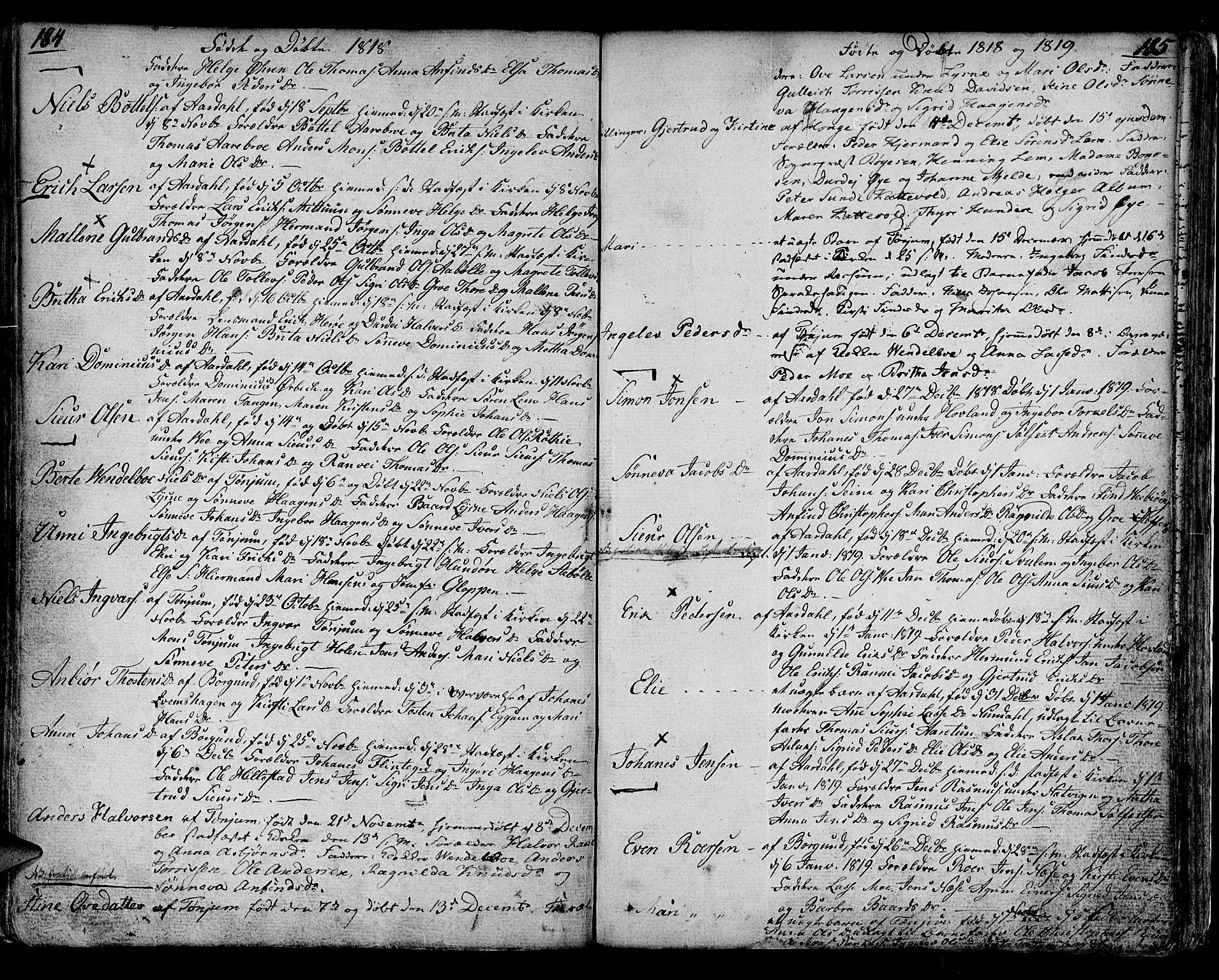 SAB, Lærdal sokneprestembete, Ministerialbok nr. A 4, 1805-1821, s. 184-185