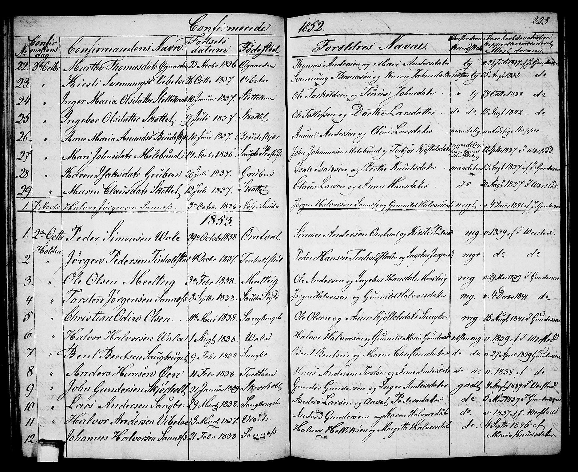 SAKO, Holla kirkebøker, G/Ga/L0003: Klokkerbok nr. I 3, 1849-1866, s. 223