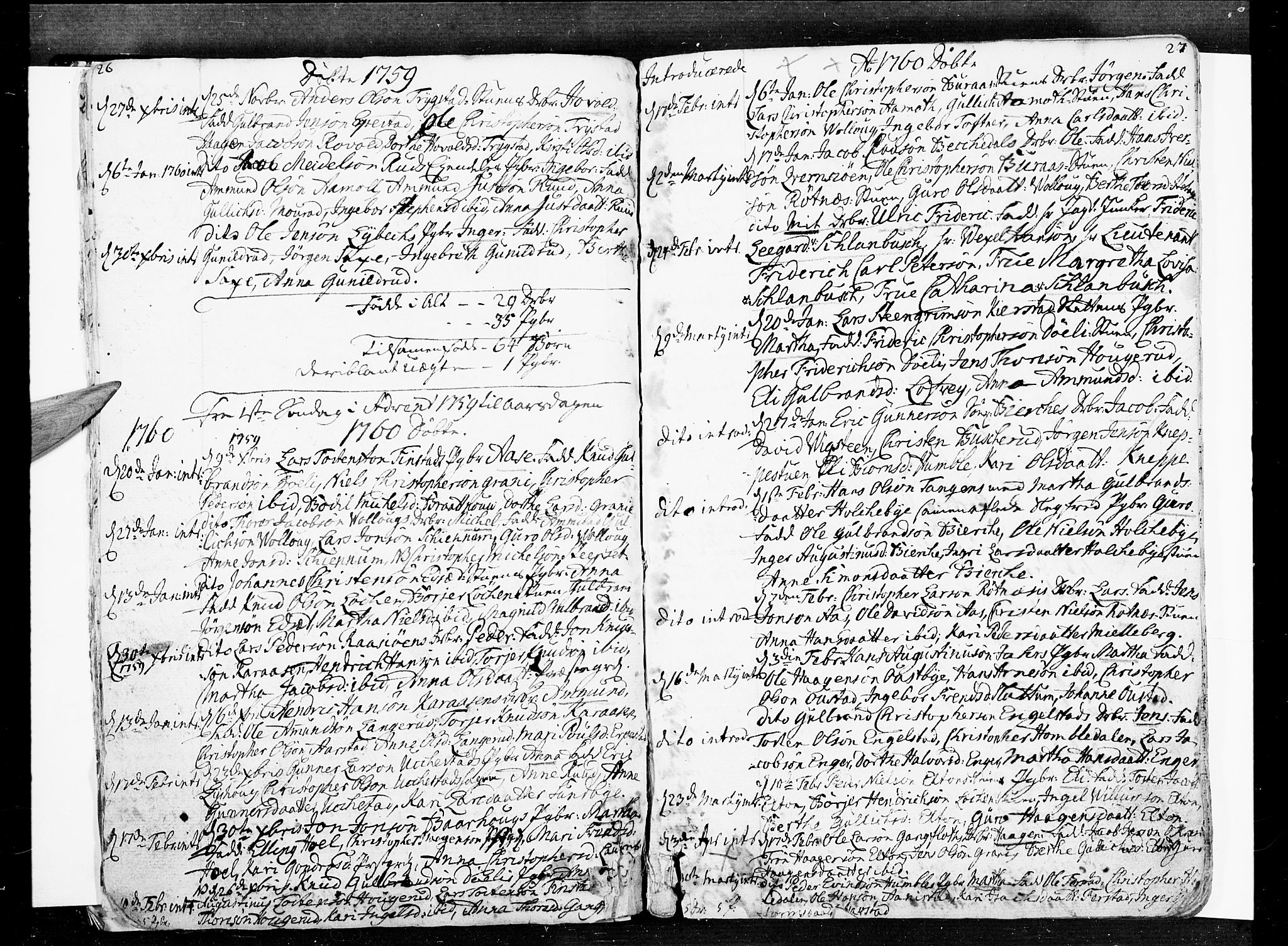SAO, Nannestad prestekontor Kirkebøker, F/Fa/L0007: Ministerialbok nr. I 7, 1754-1791, s. 26-27