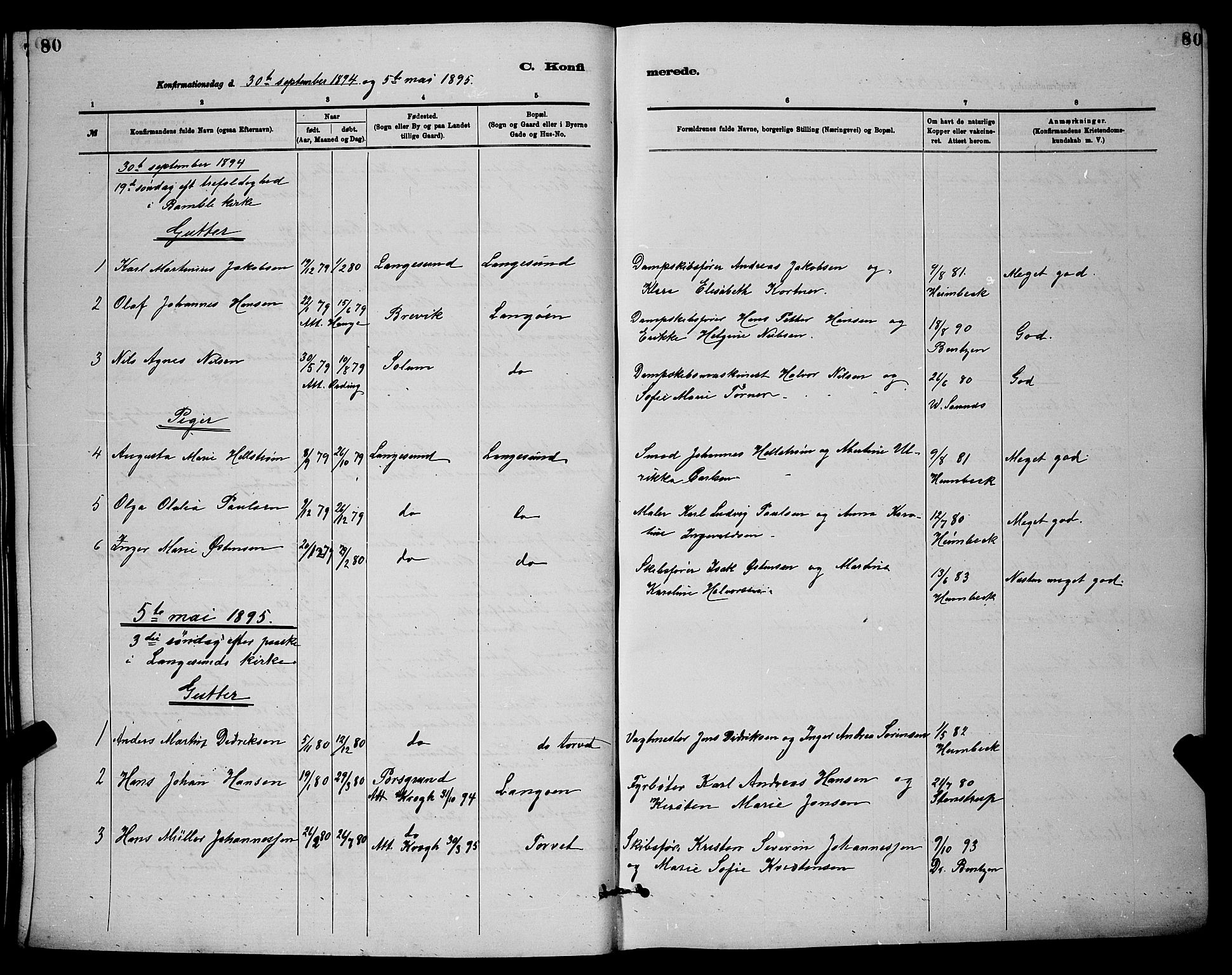 SAKO, Langesund kirkebøker, G/Ga/L0005: Klokkerbok nr. 5, 1884-1898, s. 80