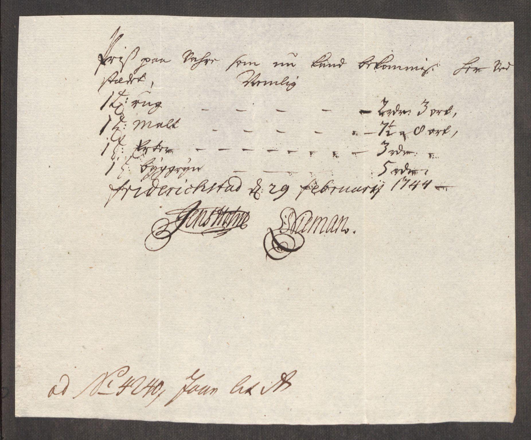 RA, Rentekammeret inntil 1814, Realistisk ordnet avdeling, Oe/L0002: [Ø1]: Priskuranter, 1740-1744, s. 833