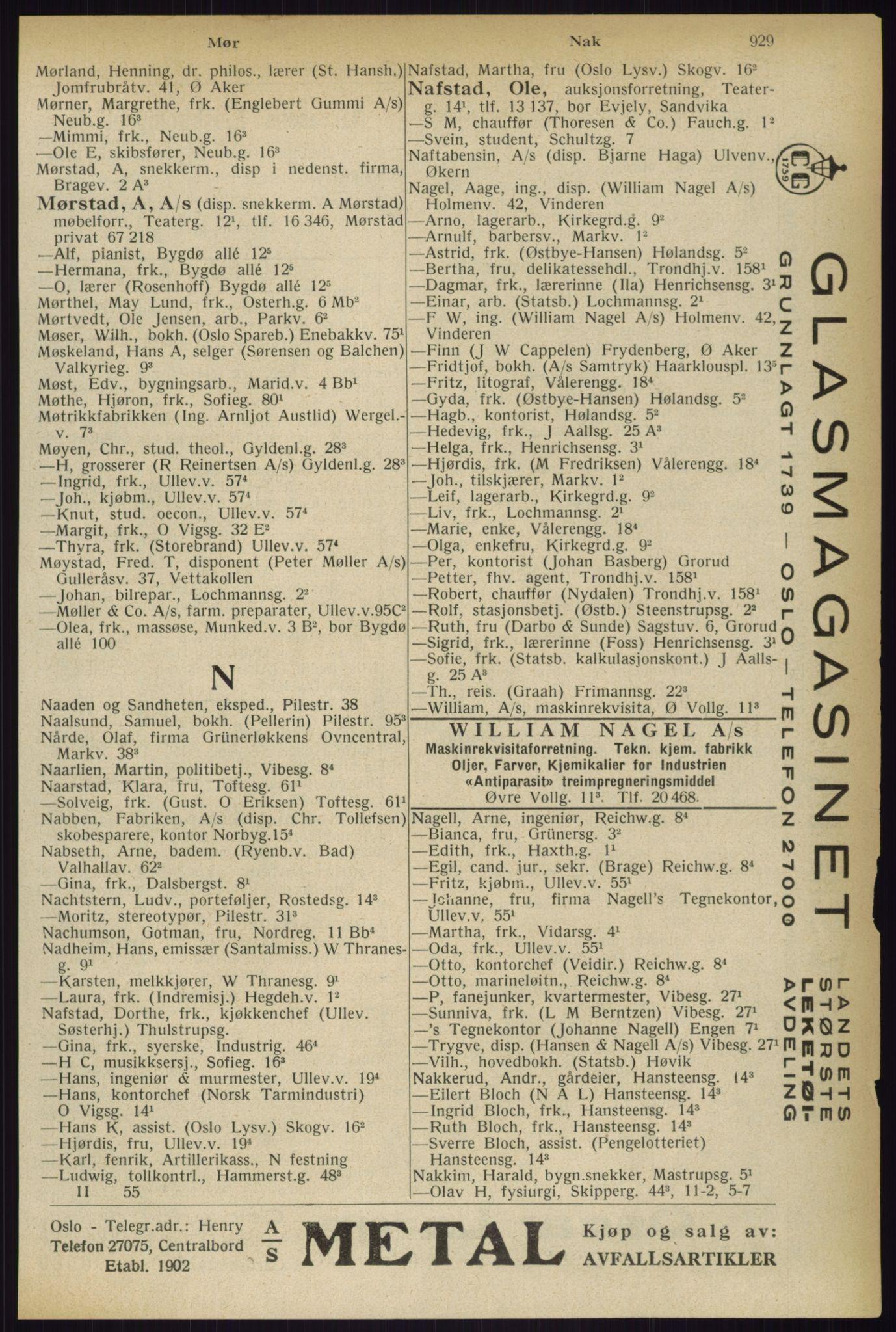 RA, Oslo adressebok (publikasjon)*, 1933, s. 929