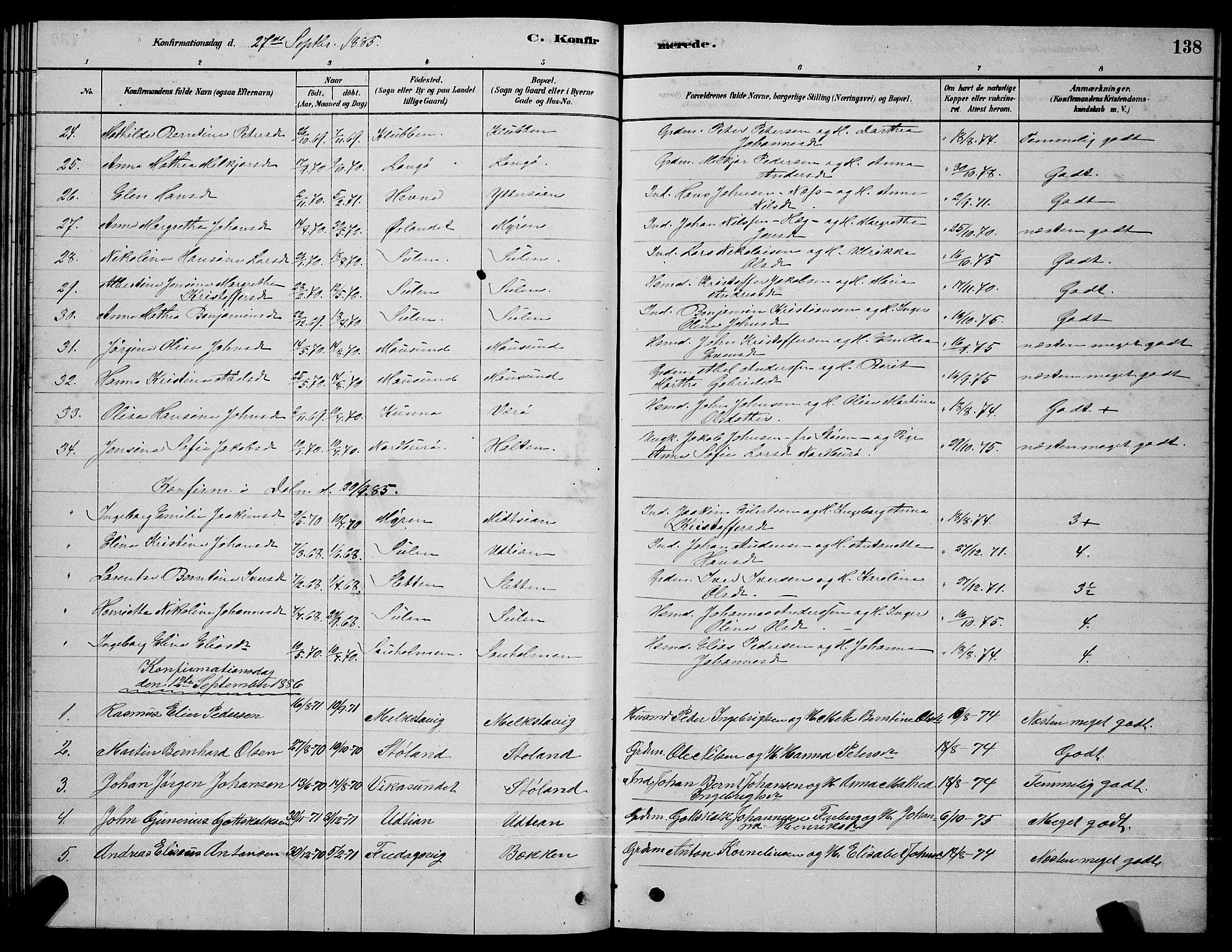 SAT, Ministerialprotokoller, klokkerbøker og fødselsregistre - Sør-Trøndelag, 640/L0585: Klokkerbok nr. 640C03, 1878-1891, s. 138