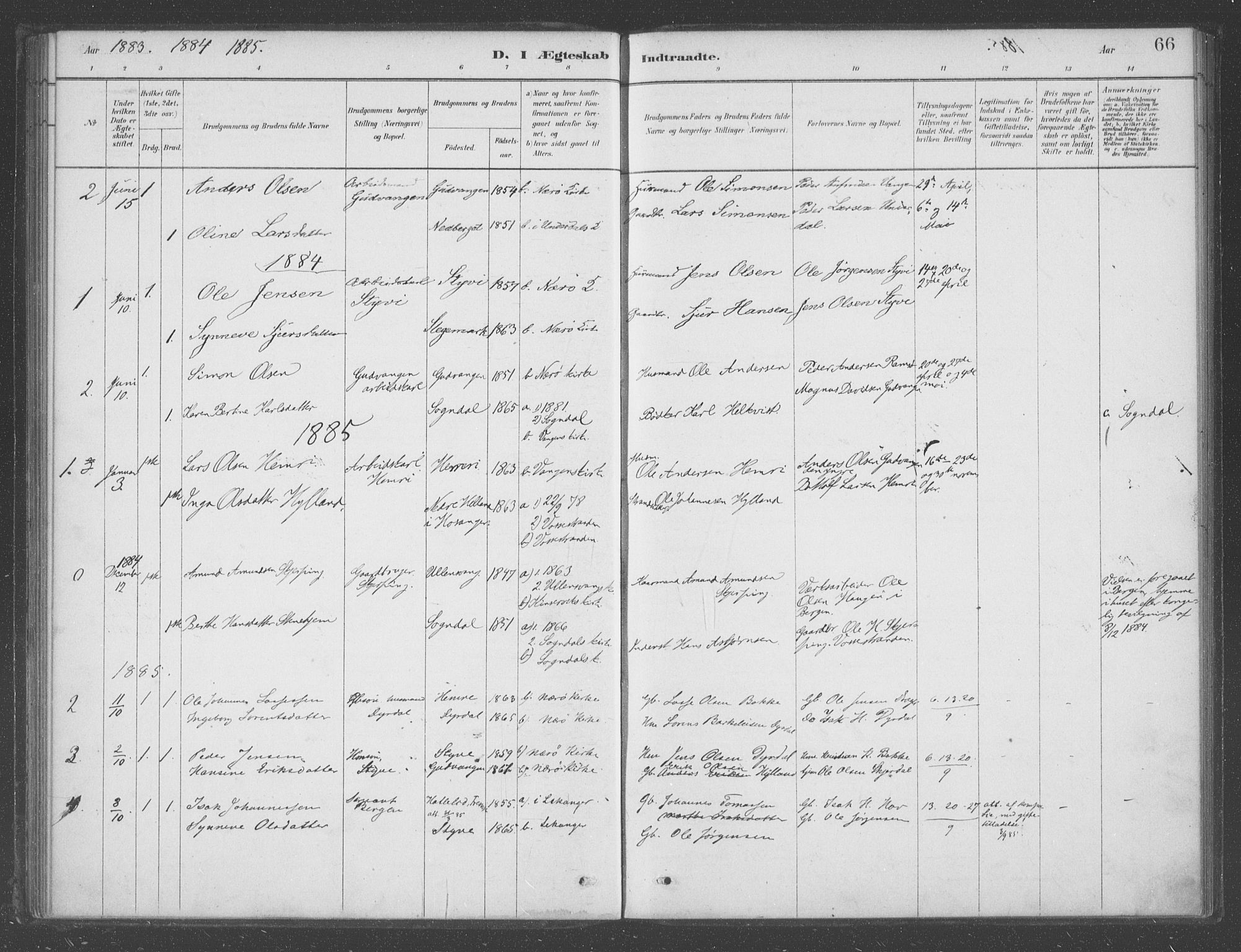 SAB, Aurland sokneprestembete, H/Ha/Had/L0001: Ministerialbok nr. D  1, 1880-1903, s. 66