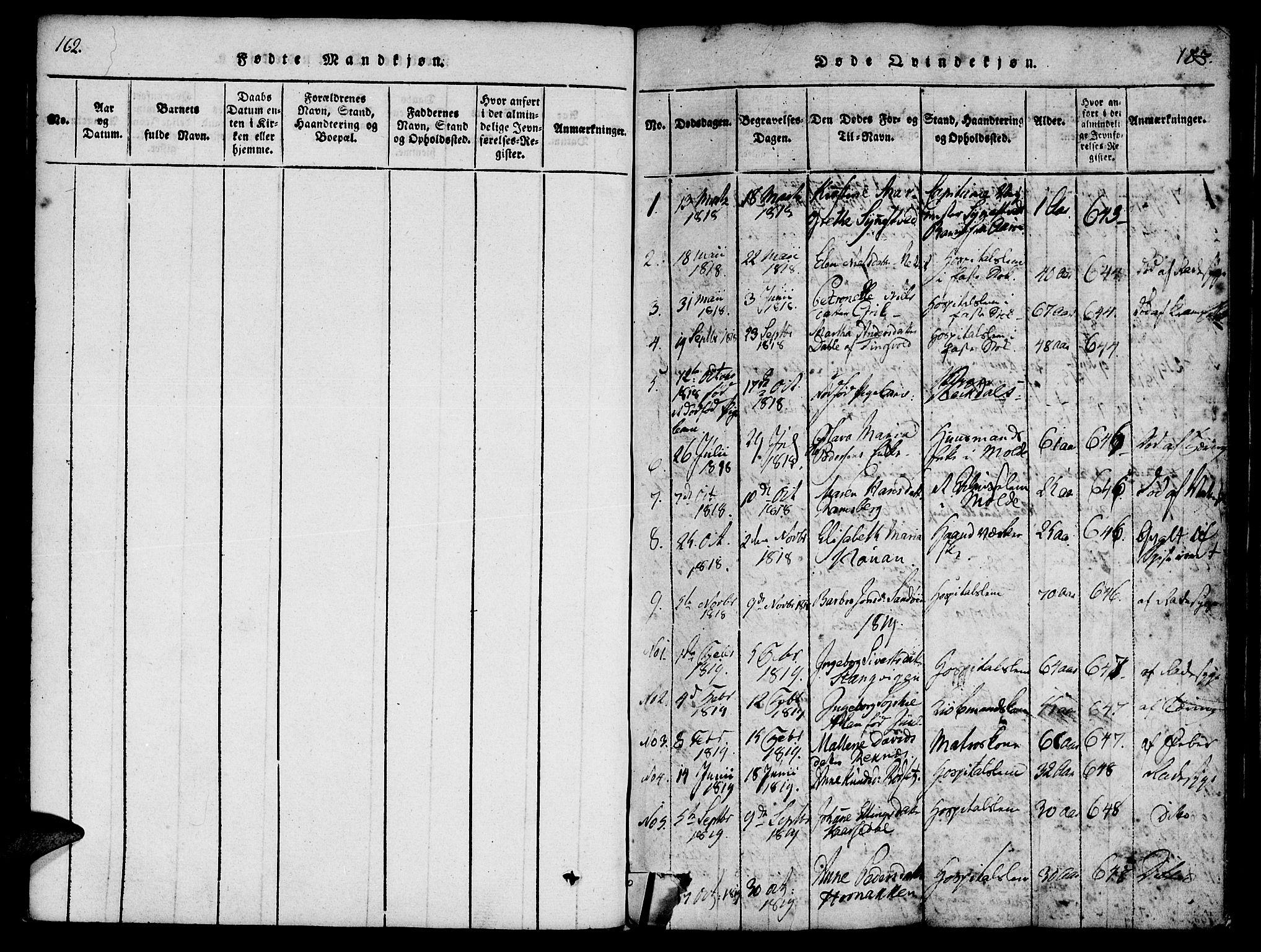 SAT, Ministerialprotokoller, klokkerbøker og fødselsregistre - Møre og Romsdal, 558/L0688: Ministerialbok nr. 558A02, 1818-1843, s. 182-183