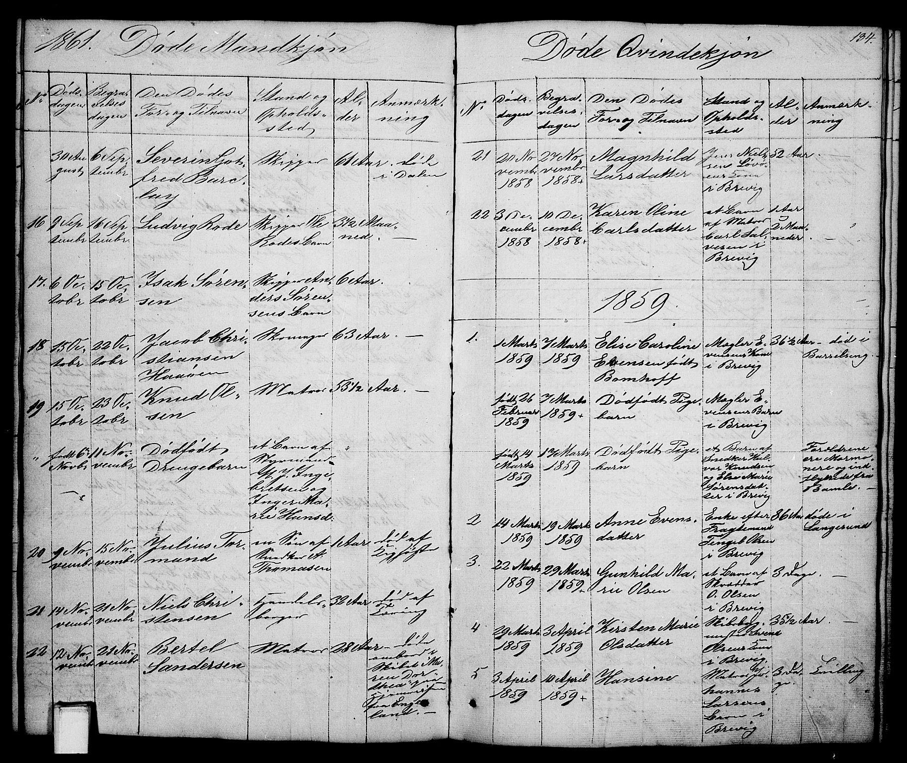 SAKO, Brevik kirkebøker, G/Ga/L0002: Klokkerbok nr. 2, 1846-1865, s. 134