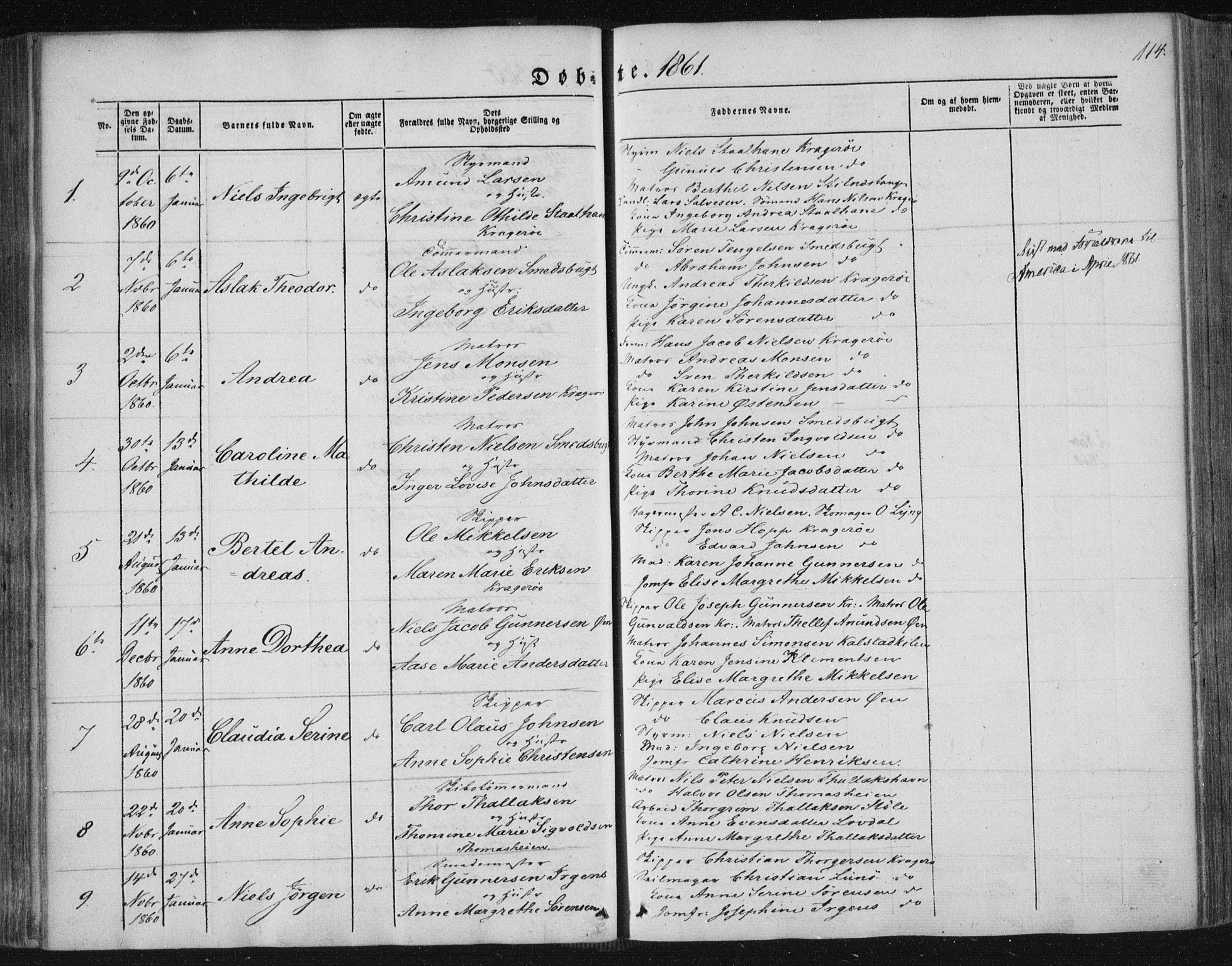 SAKO, Kragerø kirkebøker, F/Fa/L0006: Ministerialbok nr. 6, 1847-1861, s. 114