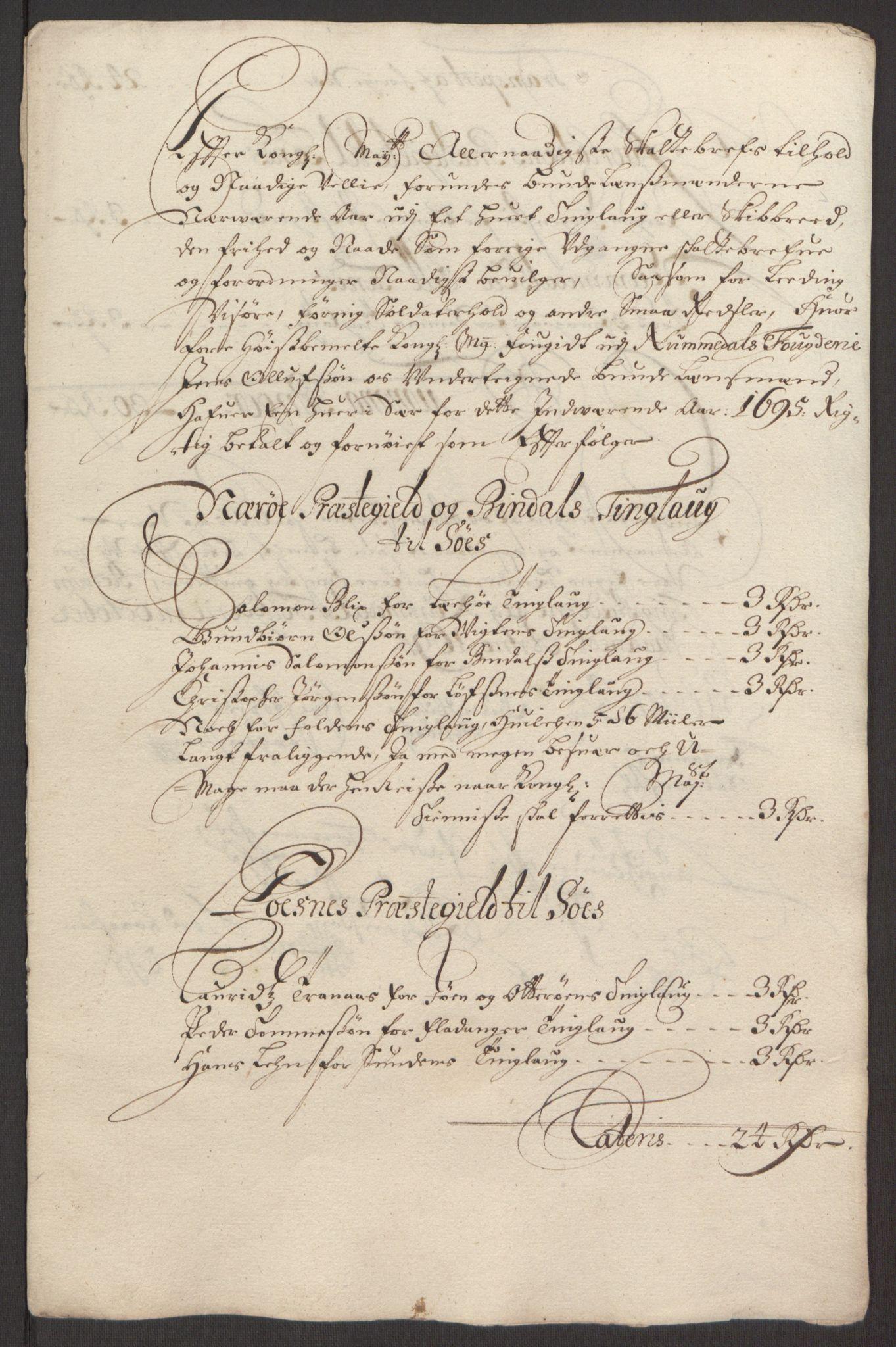 RA, Rentekammeret inntil 1814, Reviderte regnskaper, Fogderegnskap, R64/L4424: Fogderegnskap Namdal, 1692-1695, s. 512