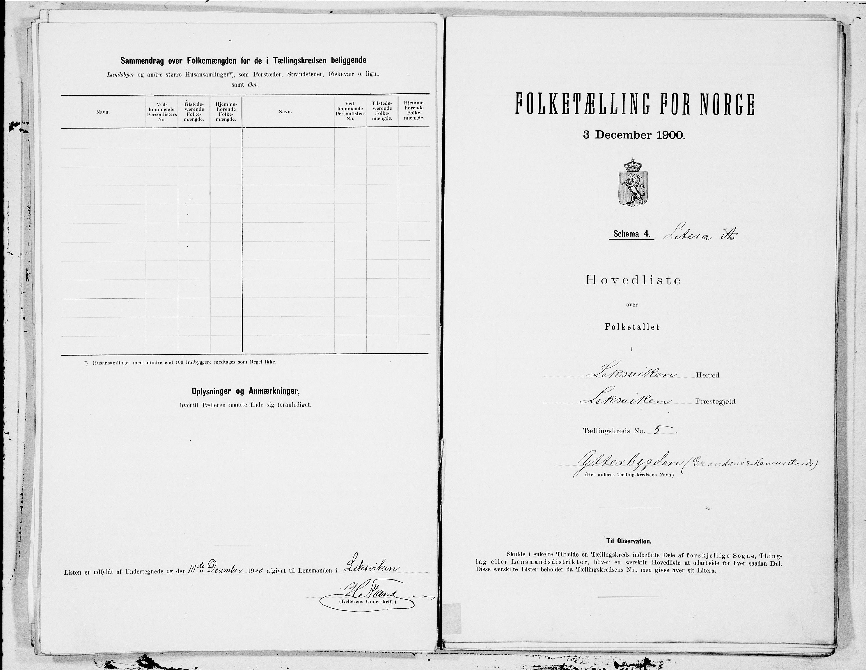 SAT, Folketelling 1900 for 1718 Leksvik herred, 1900, s. 10
