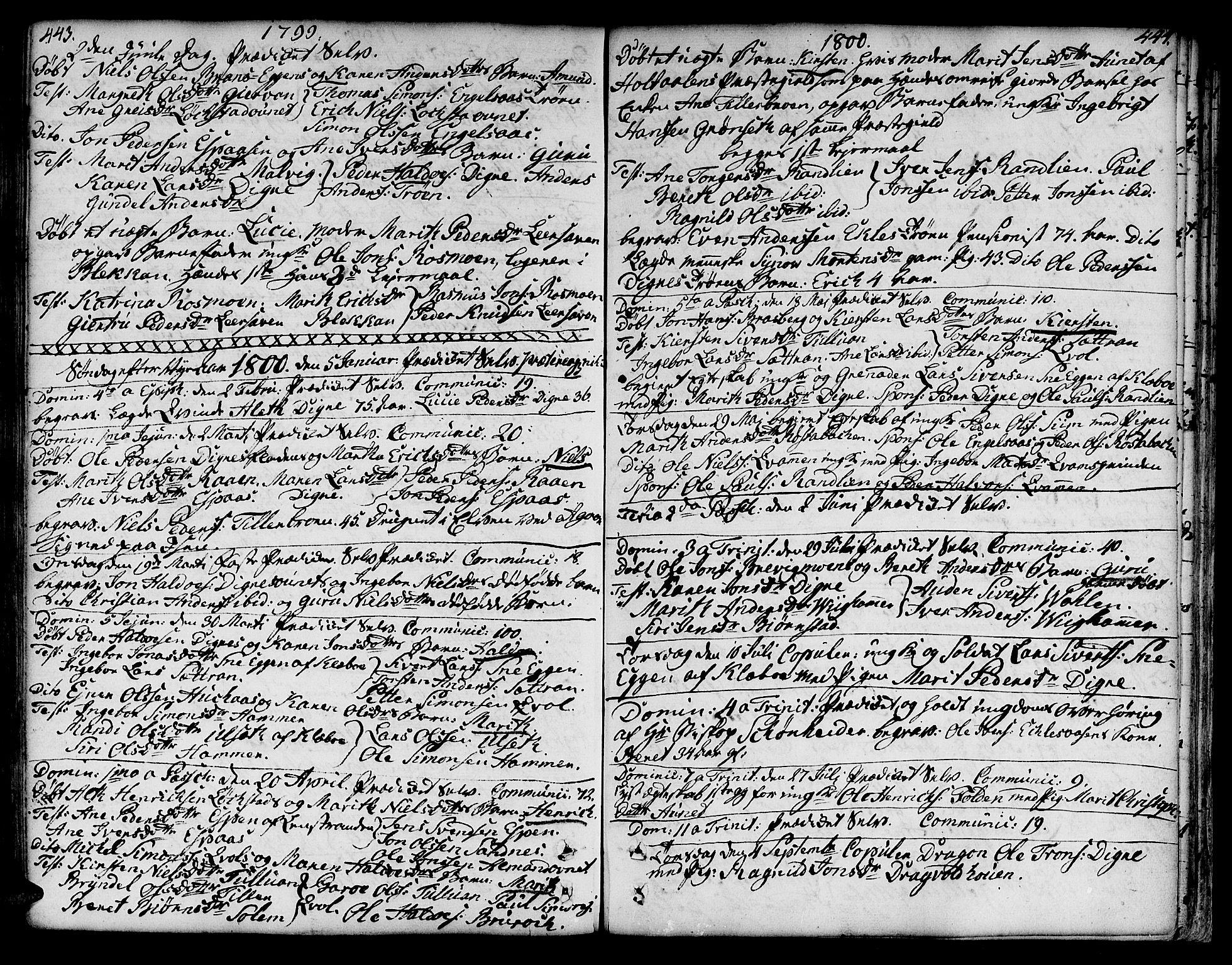 SAT, Ministerialprotokoller, klokkerbøker og fødselsregistre - Sør-Trøndelag, 606/L0282: Ministerialbok nr. 606A02 /3, 1781-1817, s. 443-444