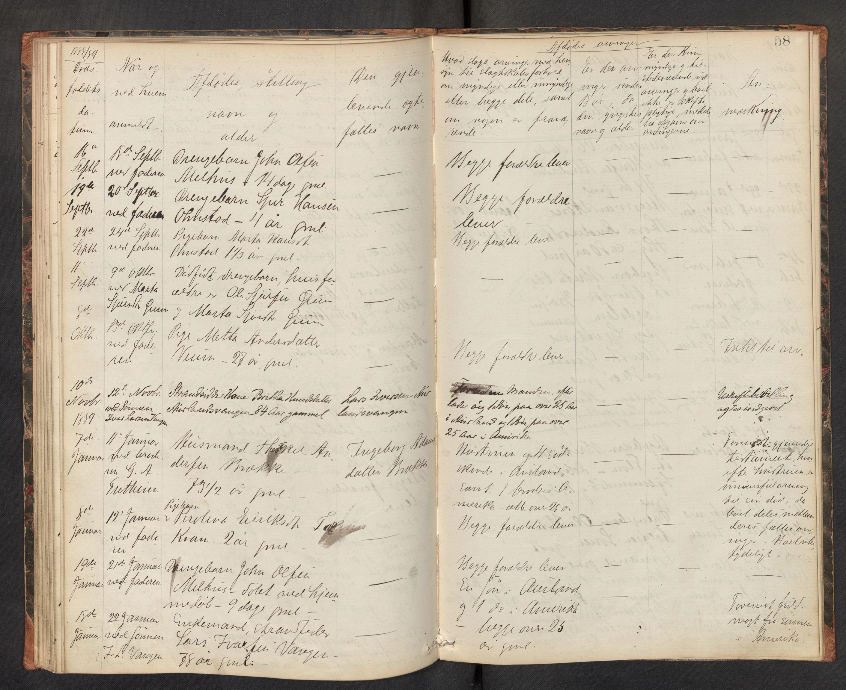 SAB, Lensmannen i Aurland, 0006/L0002: Dødsfallprotokoll, 1877-1892, s. 57b-58a