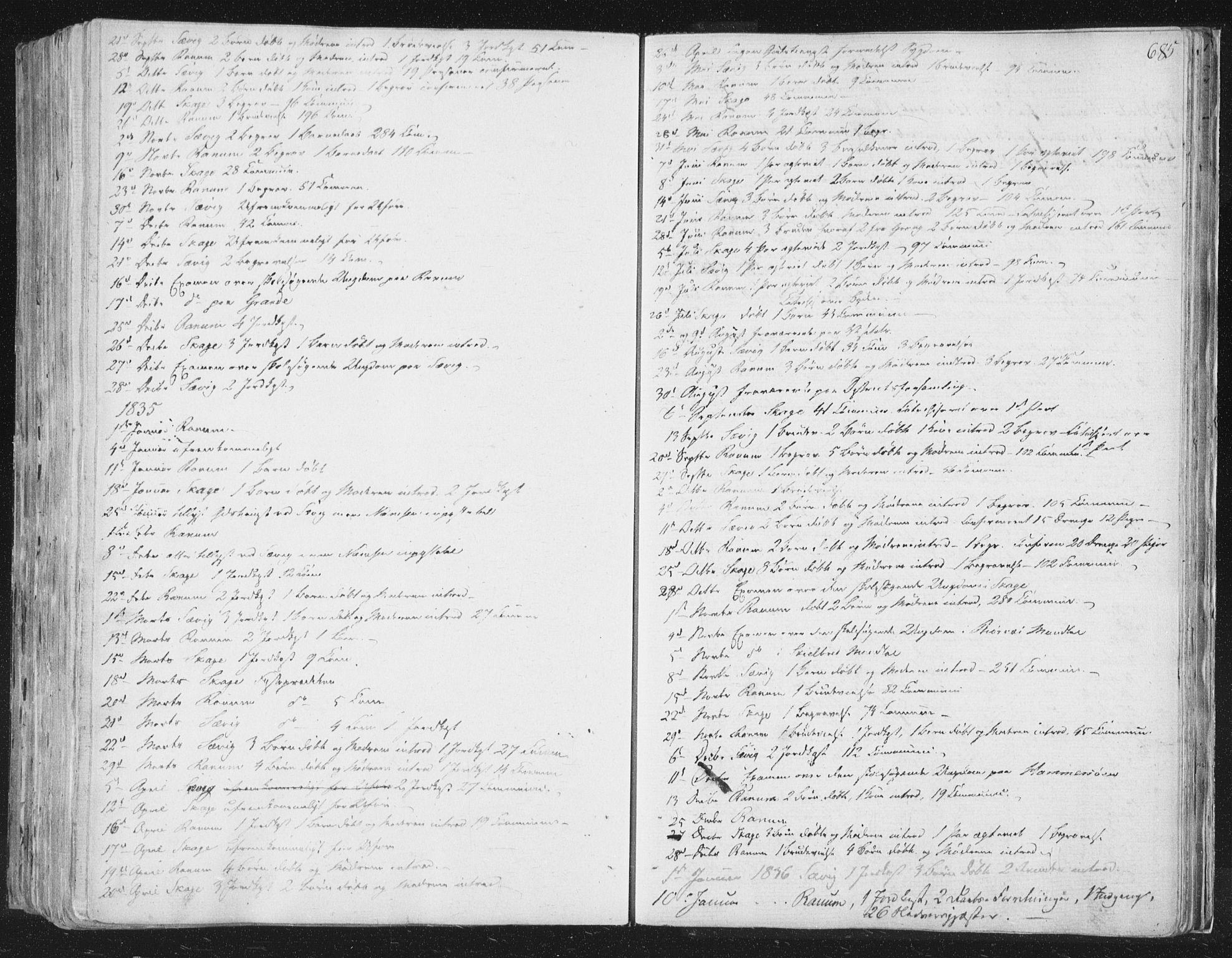 SAT, Ministerialprotokoller, klokkerbøker og fødselsregistre - Nord-Trøndelag, 764/L0552: Ministerialbok nr. 764A07b, 1824-1865, s. 685