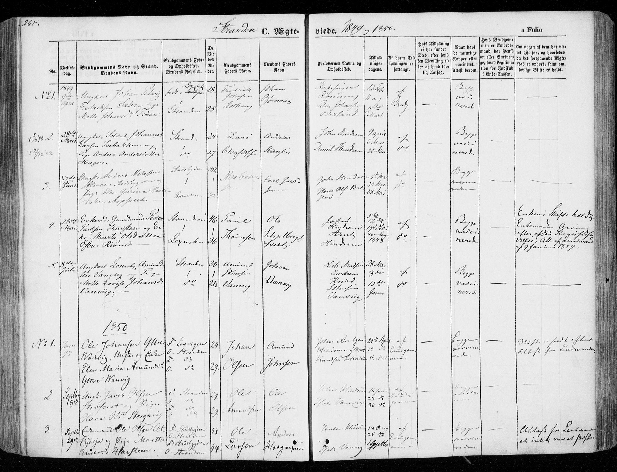 SAT, Ministerialprotokoller, klokkerbøker og fødselsregistre - Nord-Trøndelag, 701/L0007: Ministerialbok nr. 701A07 /2, 1842-1854, s. 261