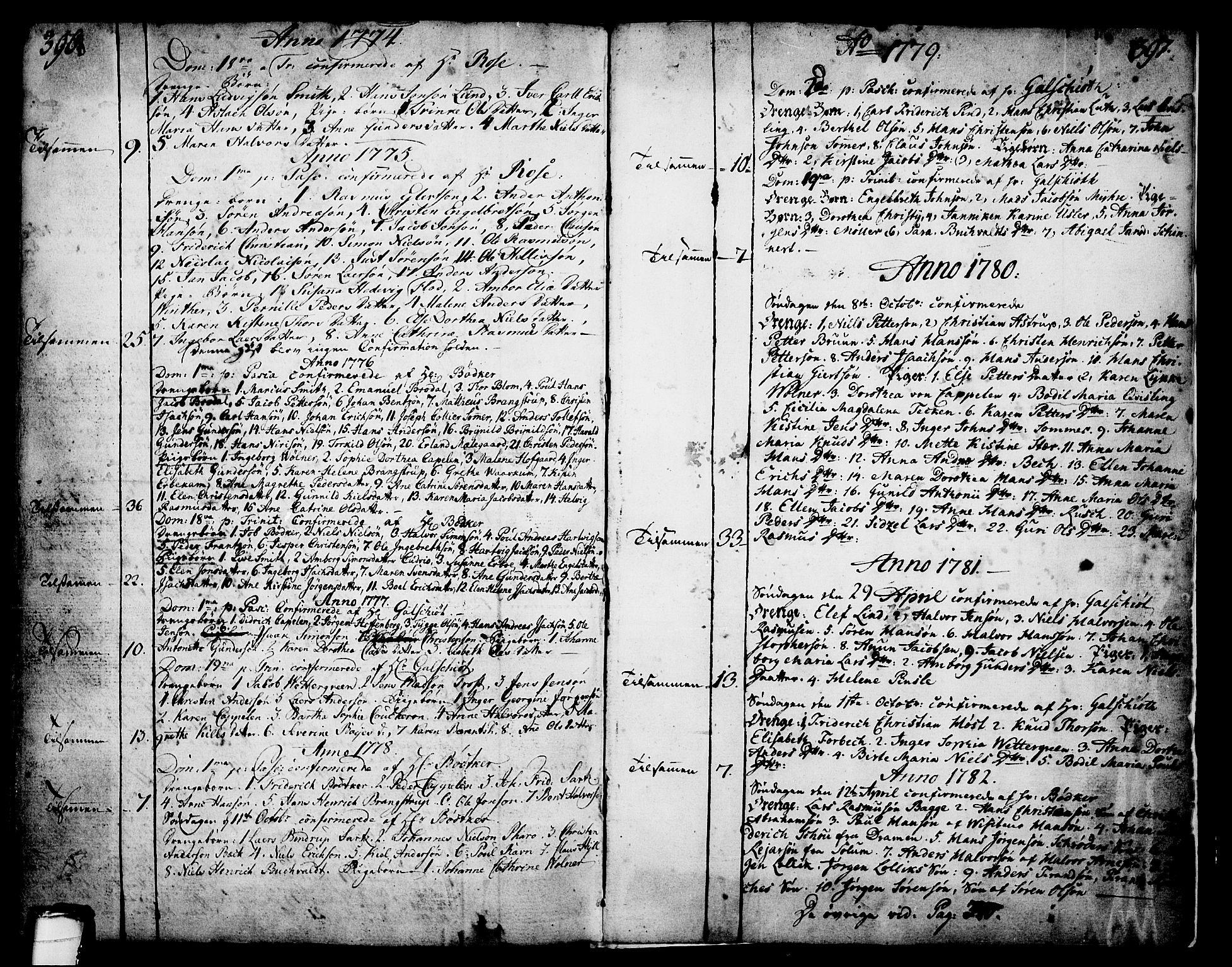 SAKO, Skien kirkebøker, F/Fa/L0003: Ministerialbok nr. 3, 1755-1791, s. 396-397