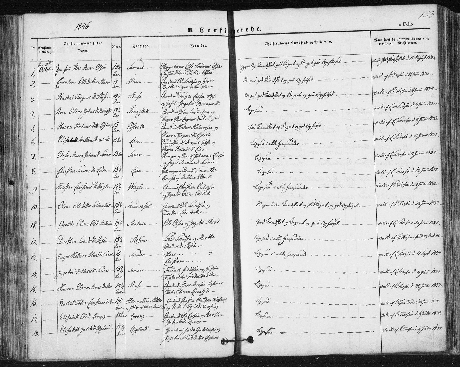 SAST, Høyland sokneprestkontor, 30BA/L0008: Ministerialbok nr. A 8, 1841-1856, s. 153