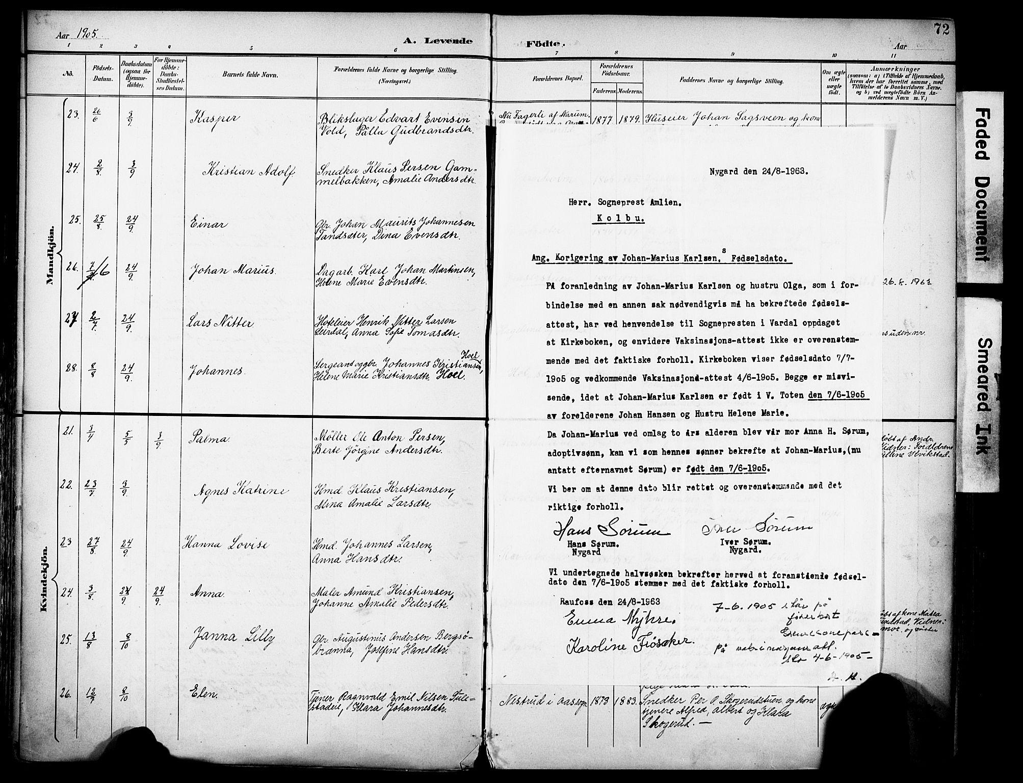 SAH, Vestre Toten prestekontor, H/Ha/Haa/L0013: Ministerialbok nr. 13, 1895-1911, s. 72