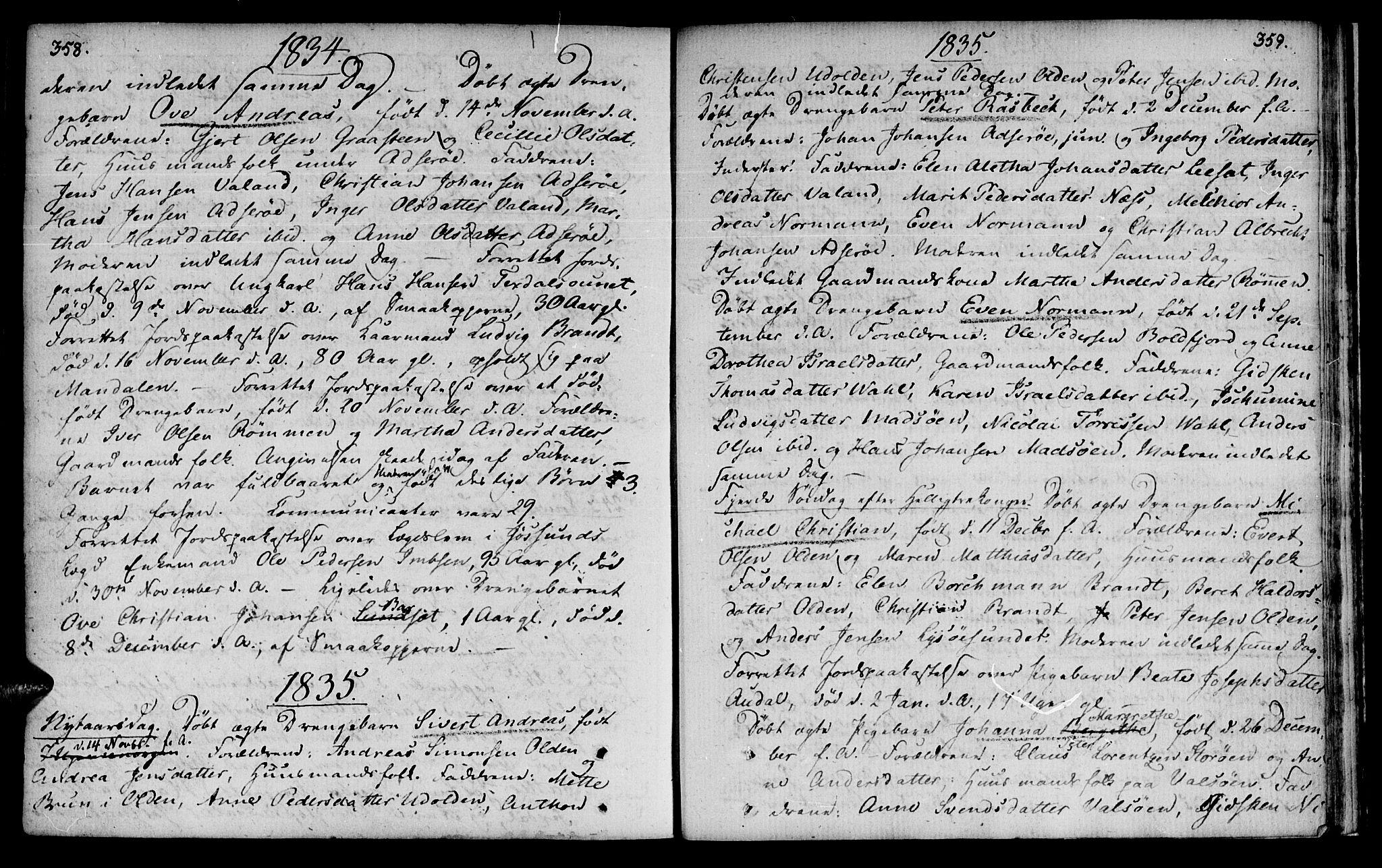 SAT, Ministerialprotokoller, klokkerbøker og fødselsregistre - Sør-Trøndelag, 655/L0674: Ministerialbok nr. 655A03, 1802-1826, s. 358-359