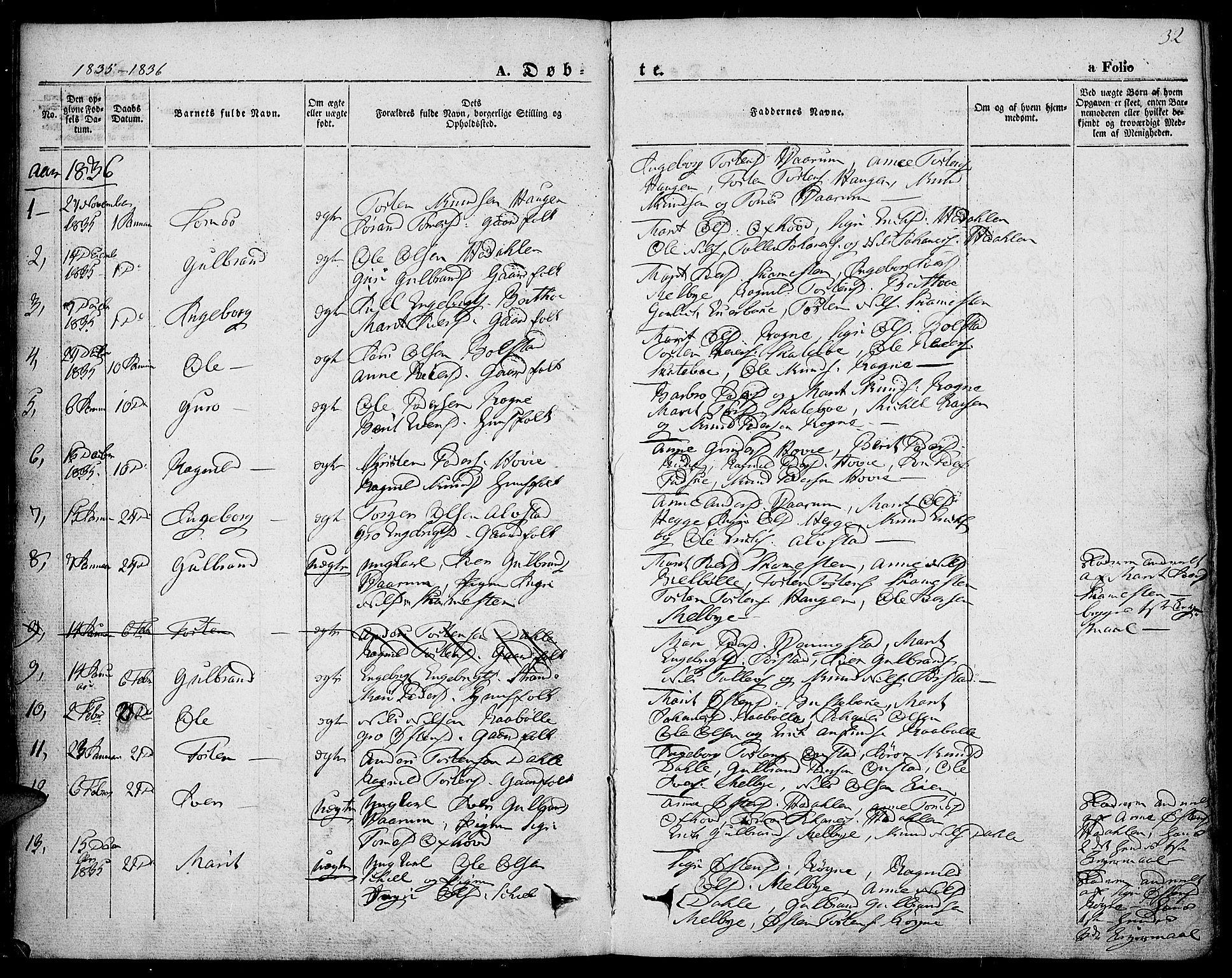 SAH, Slidre prestekontor, Ministerialbok nr. 4, 1831-1848, s. 32