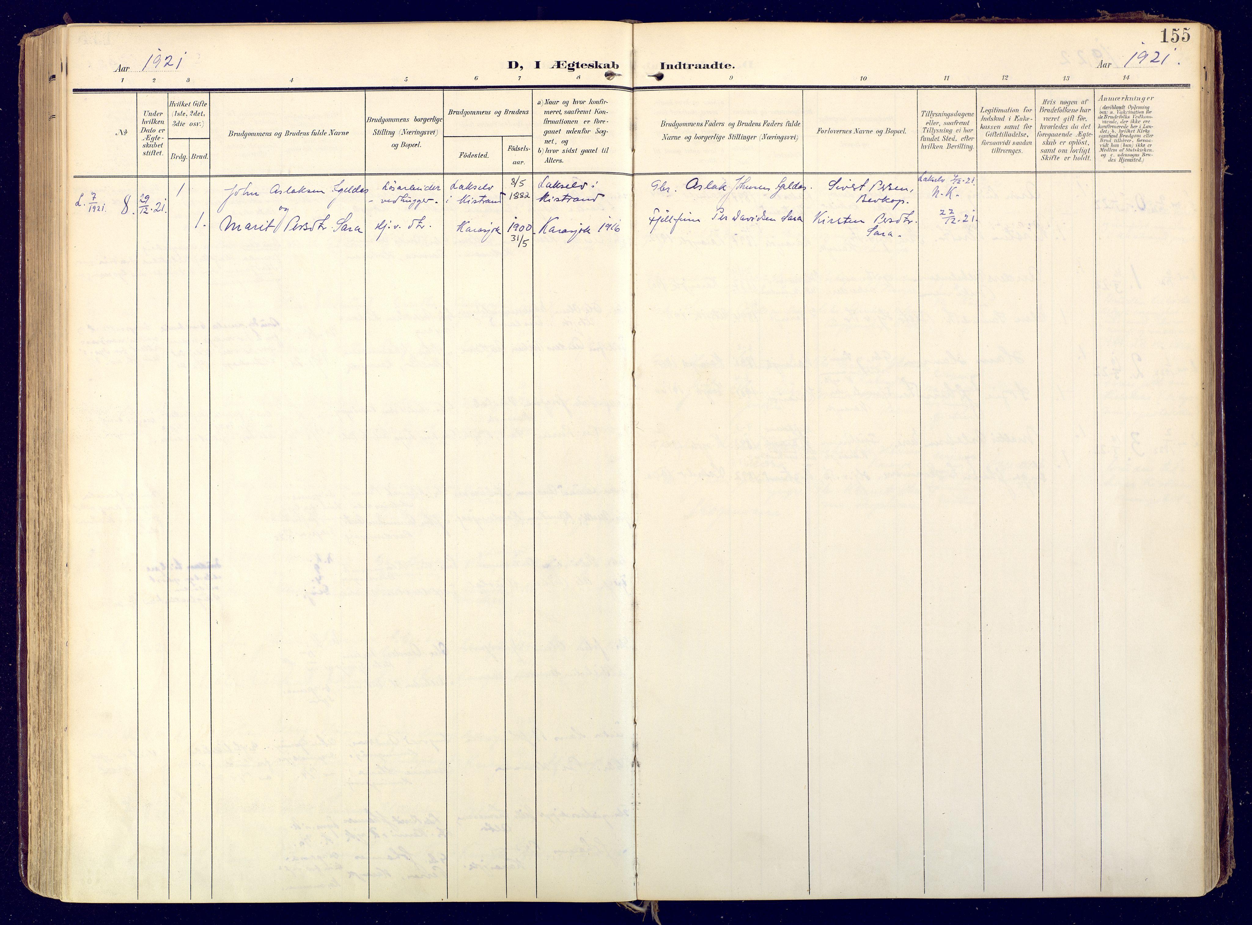 SATØ, Karasjok sokneprestkontor, H/Ha: Ministerialbok nr. 3, 1907-1926, s. 155