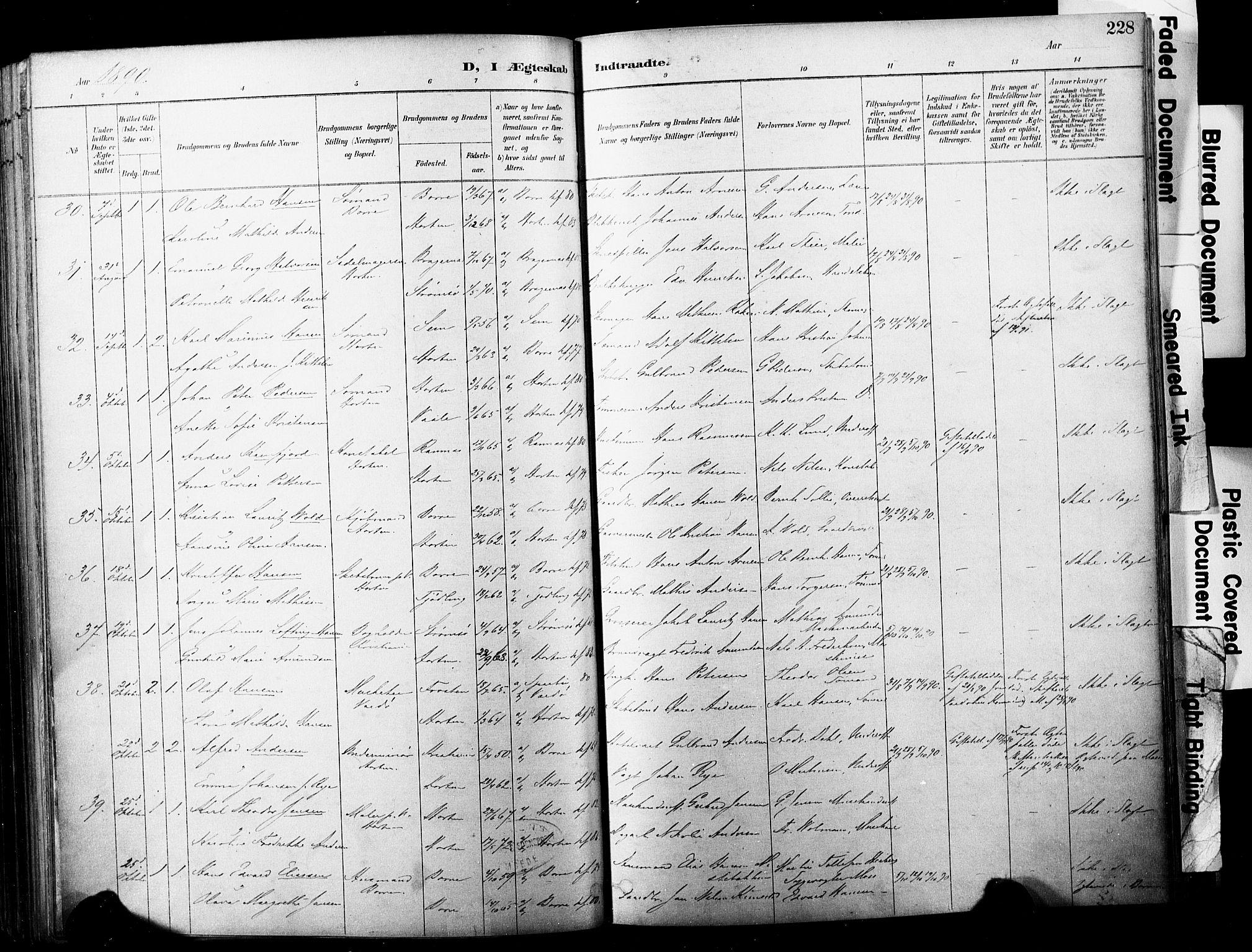 SAKO, Horten kirkebøker, F/Fa/L0004: Ministerialbok nr. 4, 1888-1895, s. 228