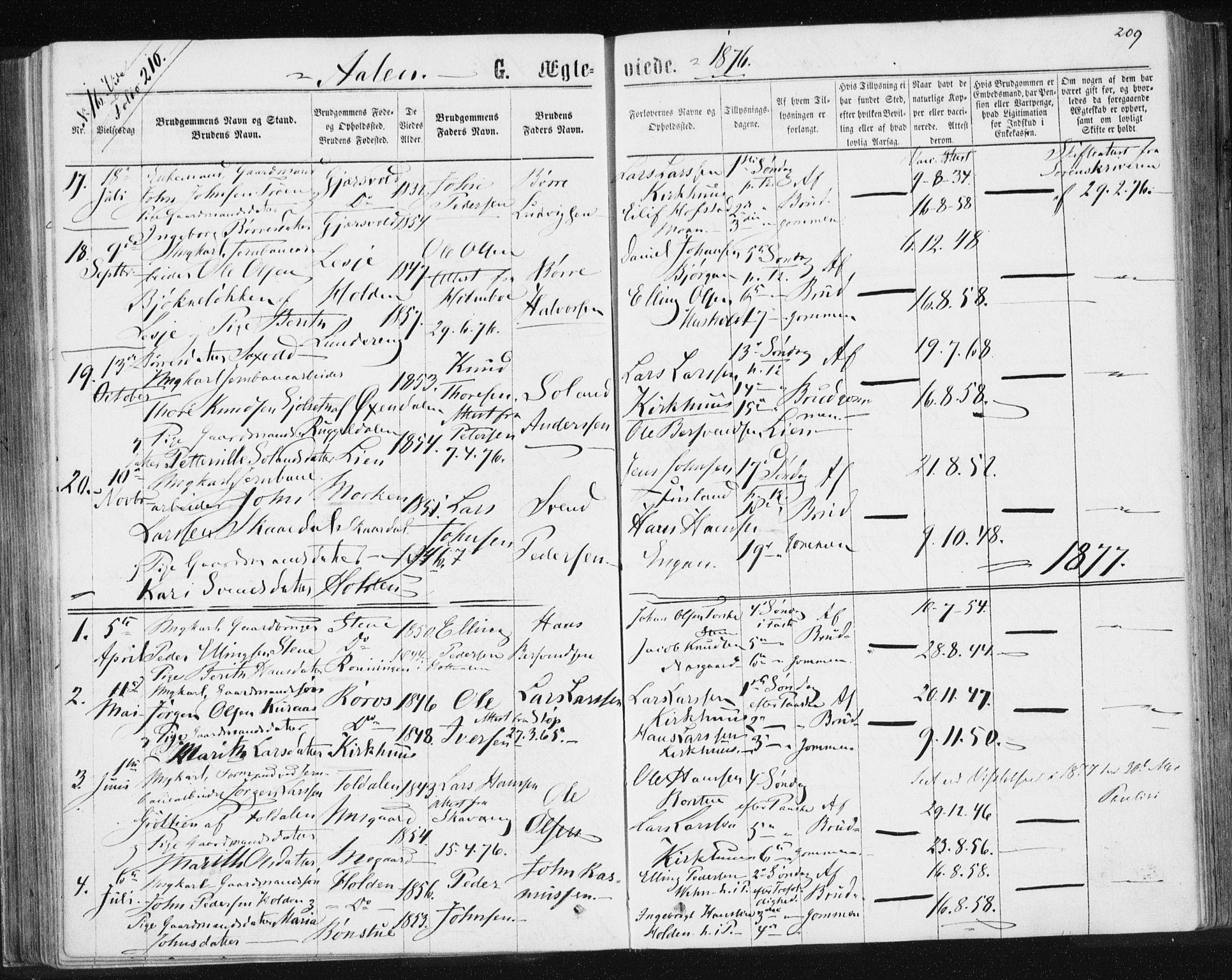 SAT, Ministerialprotokoller, klokkerbøker og fødselsregistre - Sør-Trøndelag, 685/L0971: Ministerialbok nr. 685A08 /3, 1870-1879, s. 209