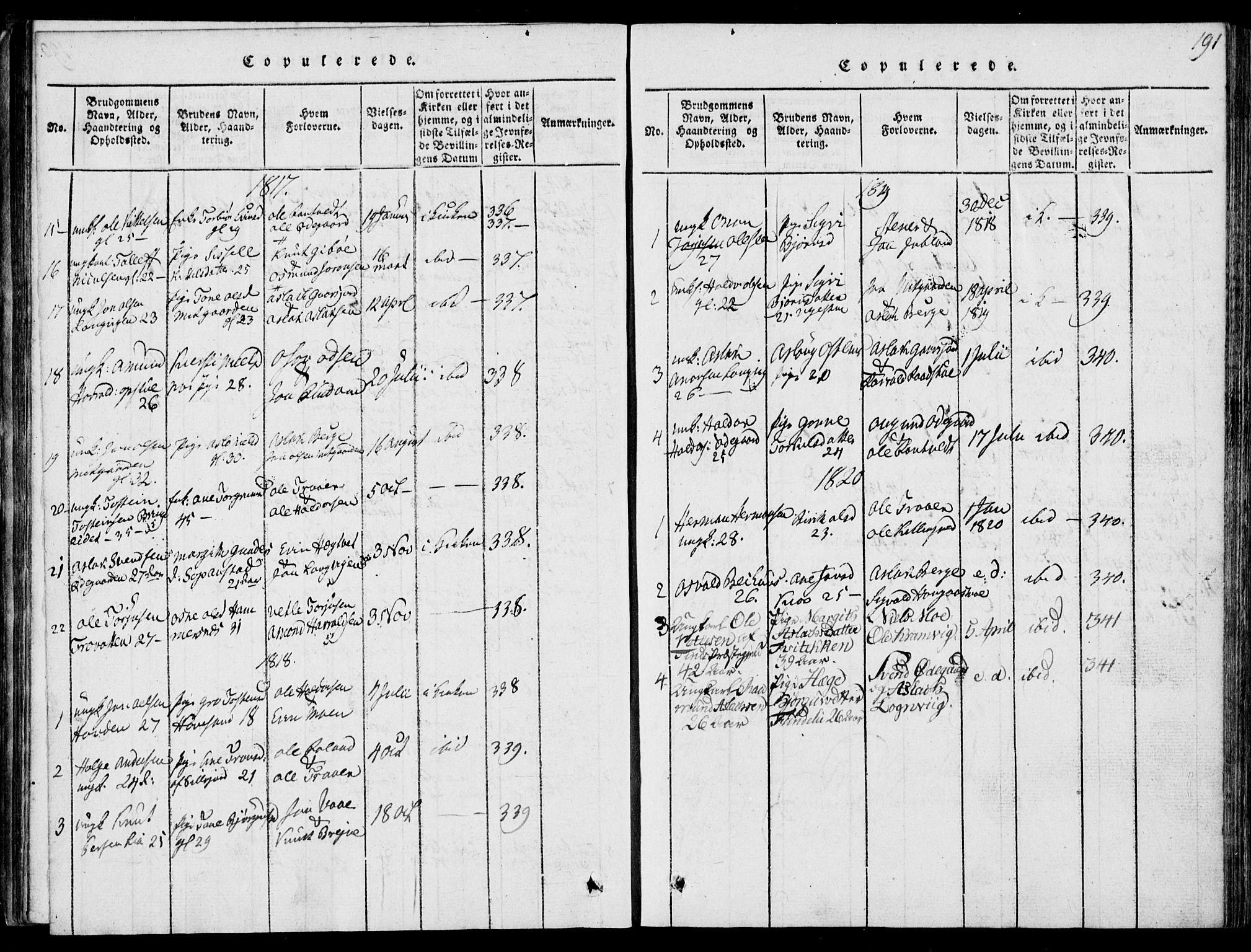SAKO, Rauland kirkebøker, G/Ga/L0001: Klokkerbok nr. I 1, 1814-1843, s. 191