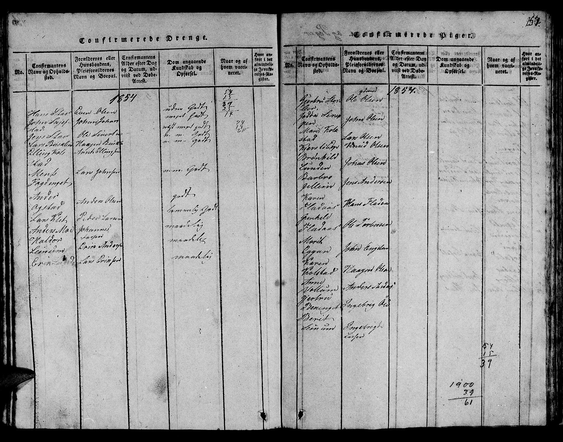 SAT, Ministerialprotokoller, klokkerbøker og fødselsregistre - Sør-Trøndelag, 613/L0393: Klokkerbok nr. 613C01, 1816-1886, s. 257