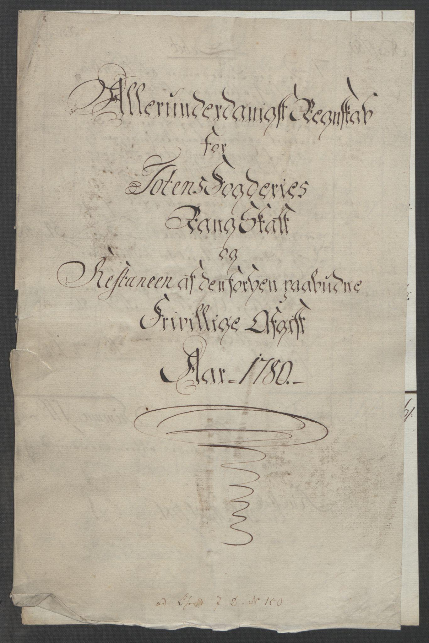 RA, Rentekammeret inntil 1814, Reviderte regnskaper, Fogderegnskap, R19/L1399: Fogderegnskap Toten, Hadeland og Vardal, 1762-1783, s. 513