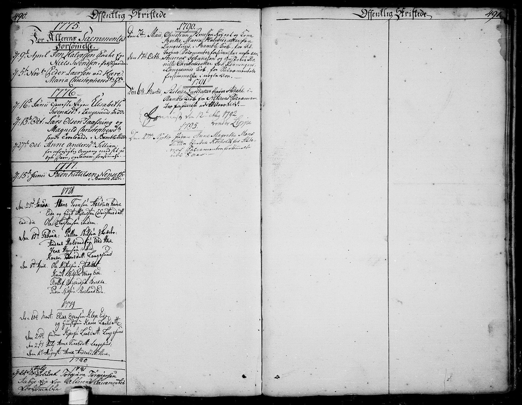SAKO, Bamble kirkebøker, F/Fa/L0002: Ministerialbok nr. I 2, 1775-1814, s. 490-491
