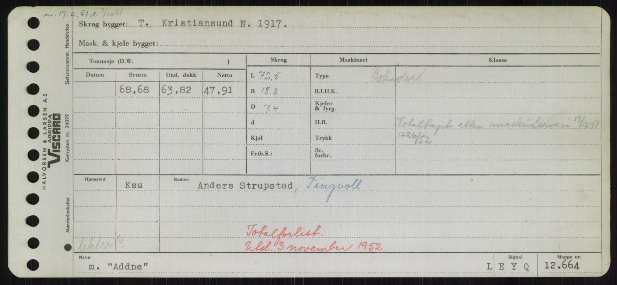 RA, Sjøfartsdirektoratet med forløpere, Skipsmålingen, H/Hd/L0001: Fartøy, A-Anv, s. 63