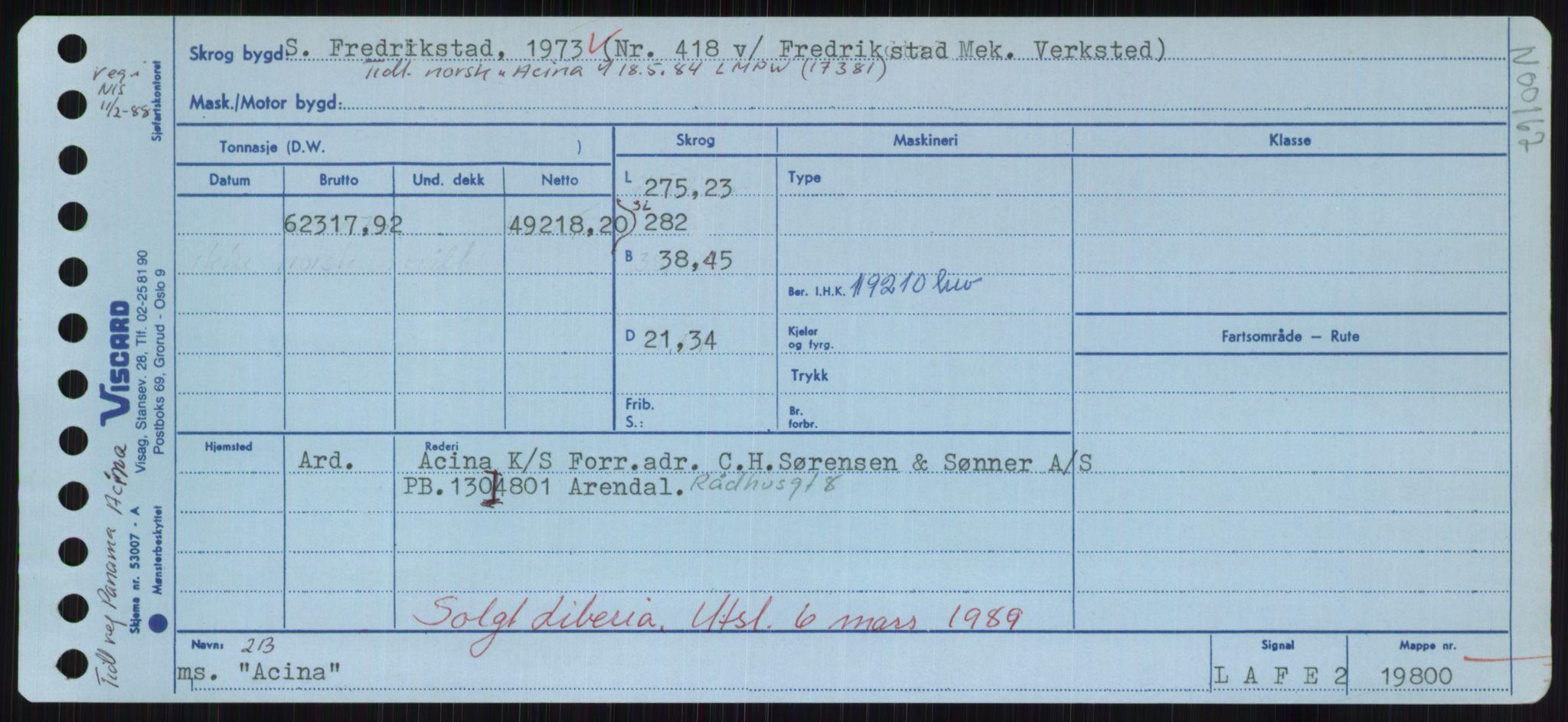 RA, Sjøfartsdirektoratet med forløpere, Skipsmålingen, H/Hd/L0001: Fartøy, A-Anv, s. 35