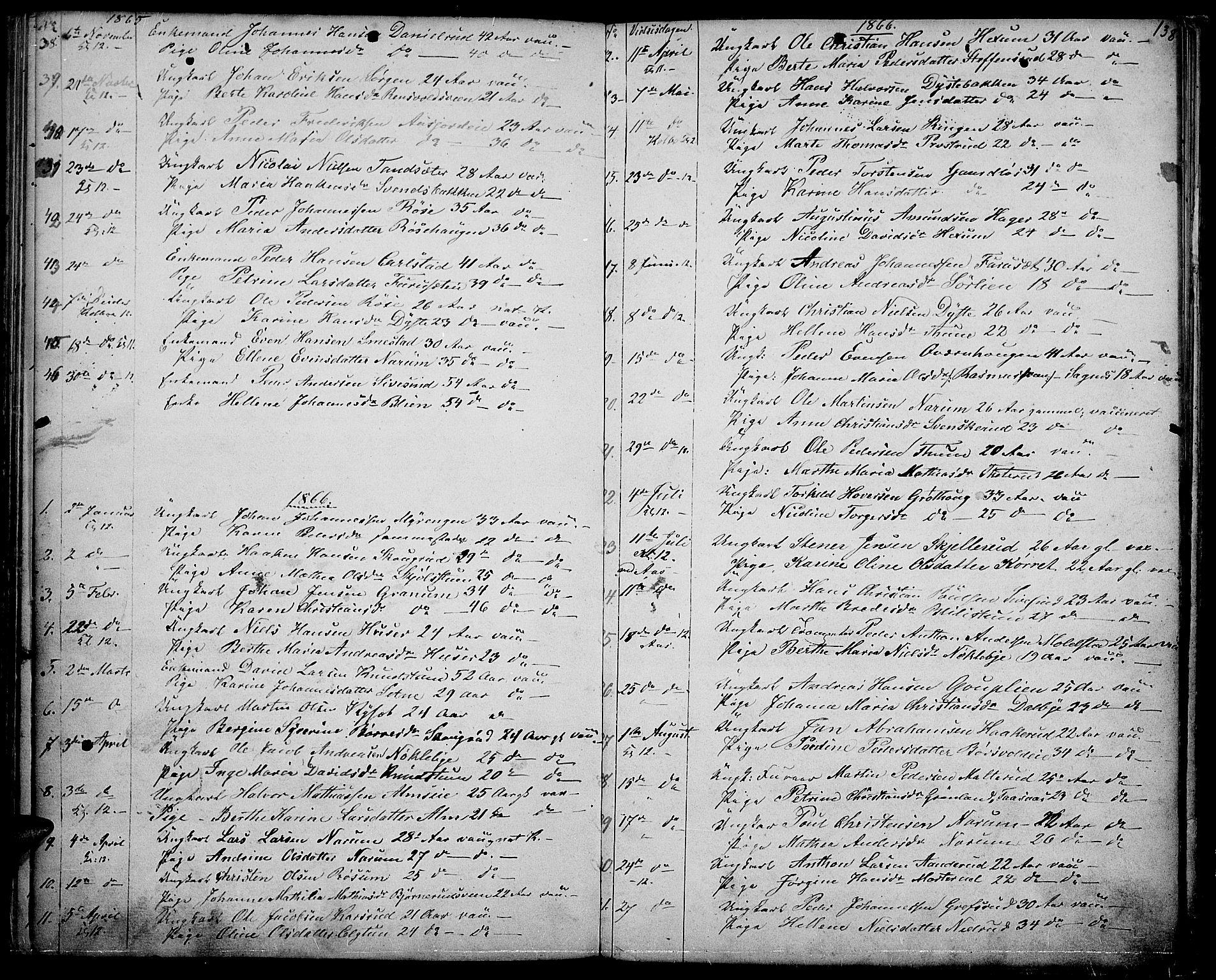 SAH, Vestre Toten prestekontor, Klokkerbok nr. 5, 1854-1870, s. 138